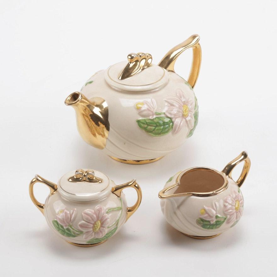 "Hull Art Pottery Pink ""Magnolia Glossy"" Tea Set with Gilt Highlights"