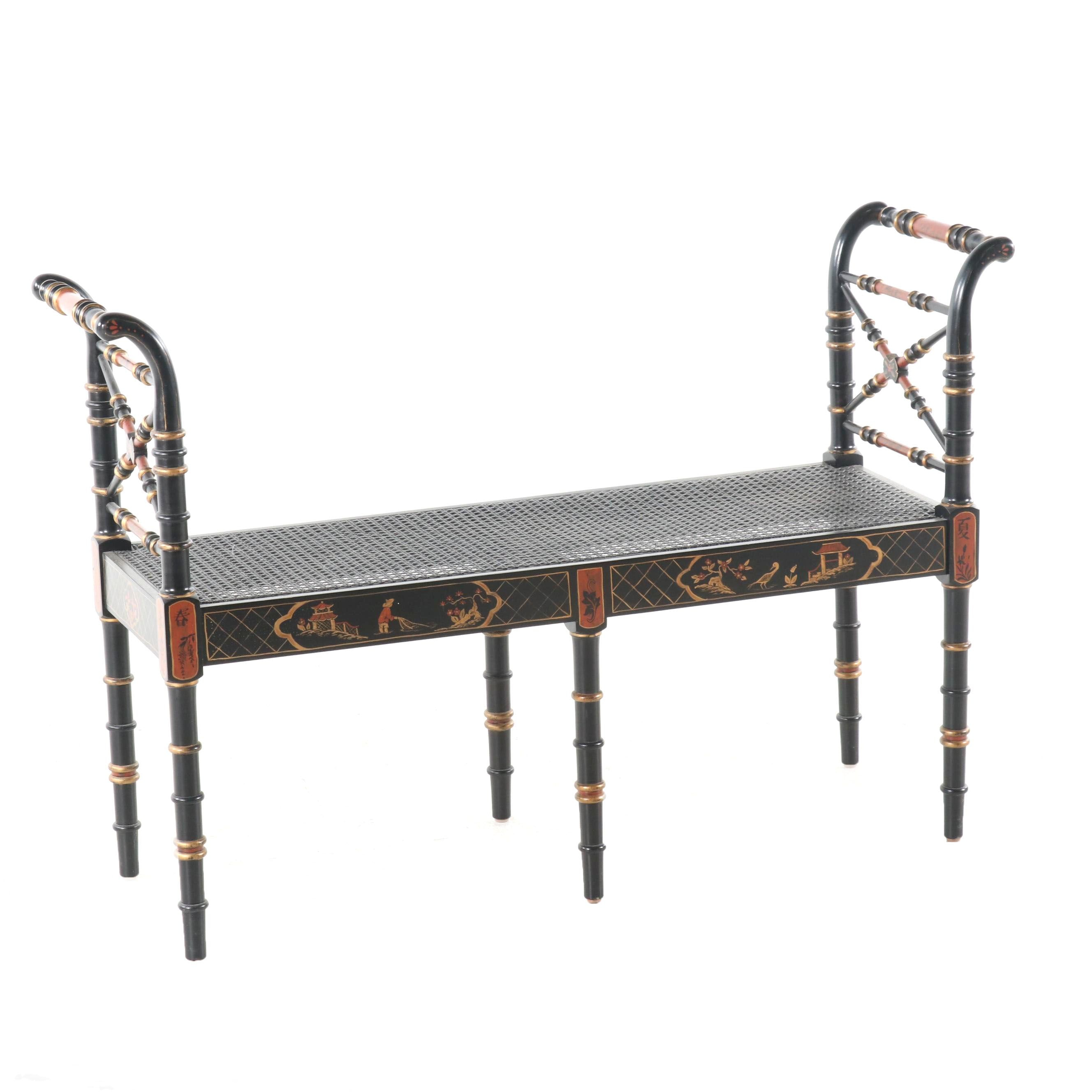 Chinoiserie Cane Bench, Contemporary