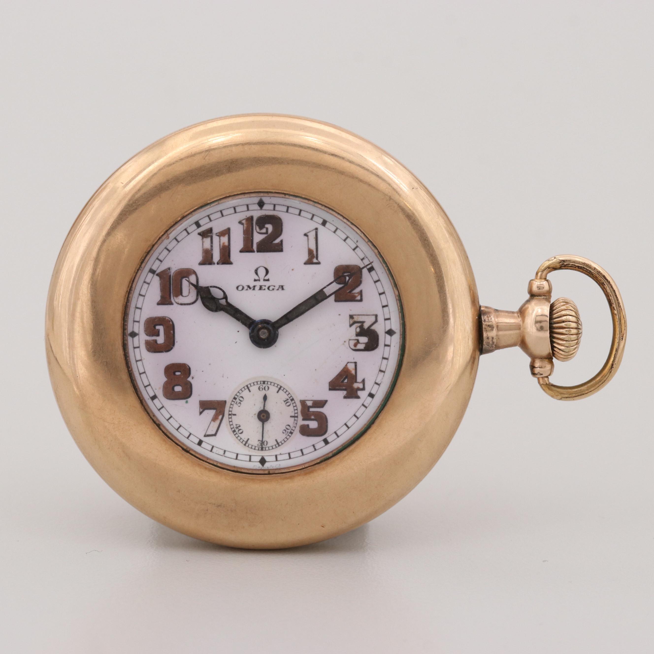 Omega Gold Filled Sidewinder Pocket Watch, 1912-1915