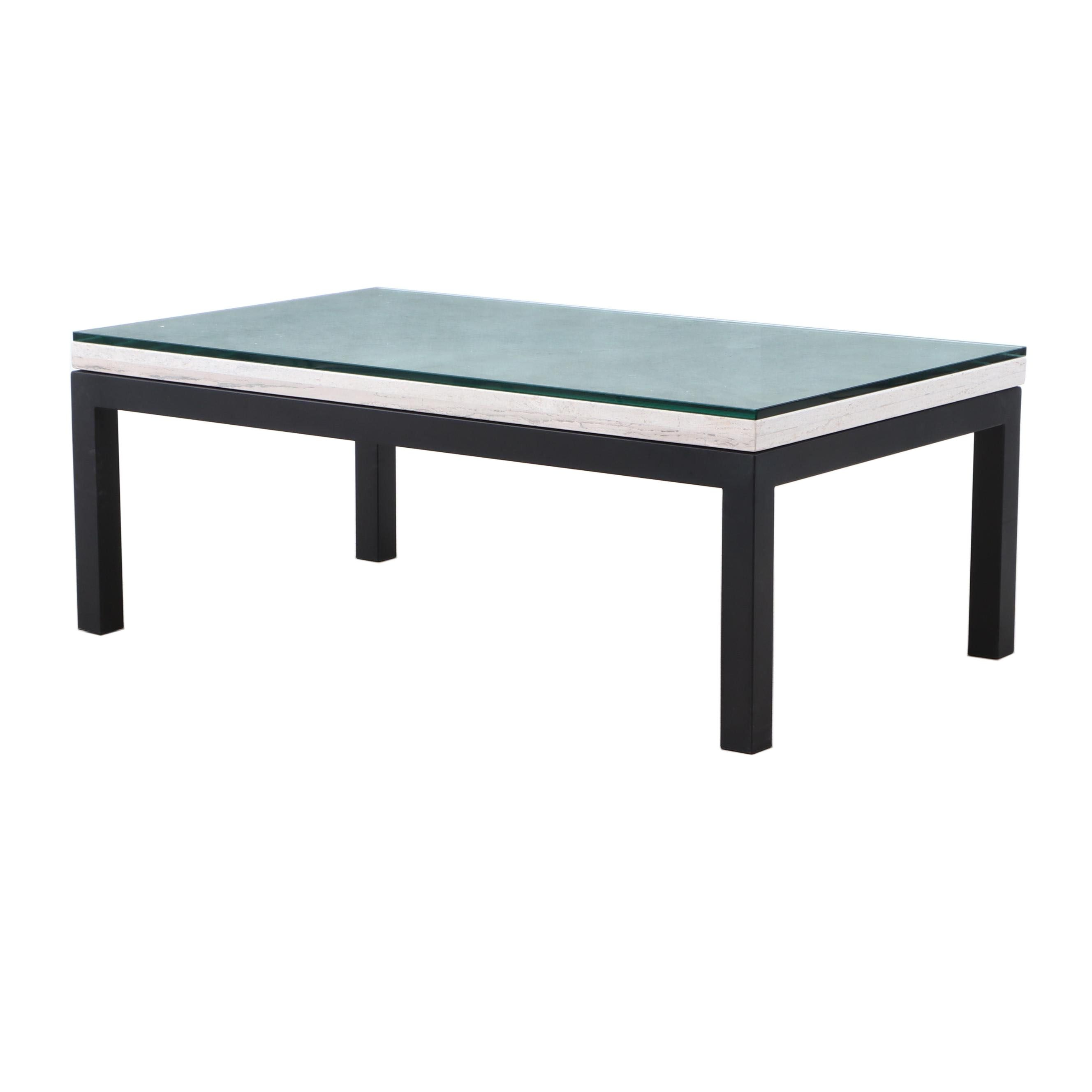 Marble and Glass Top coffee Table, Contemporary
