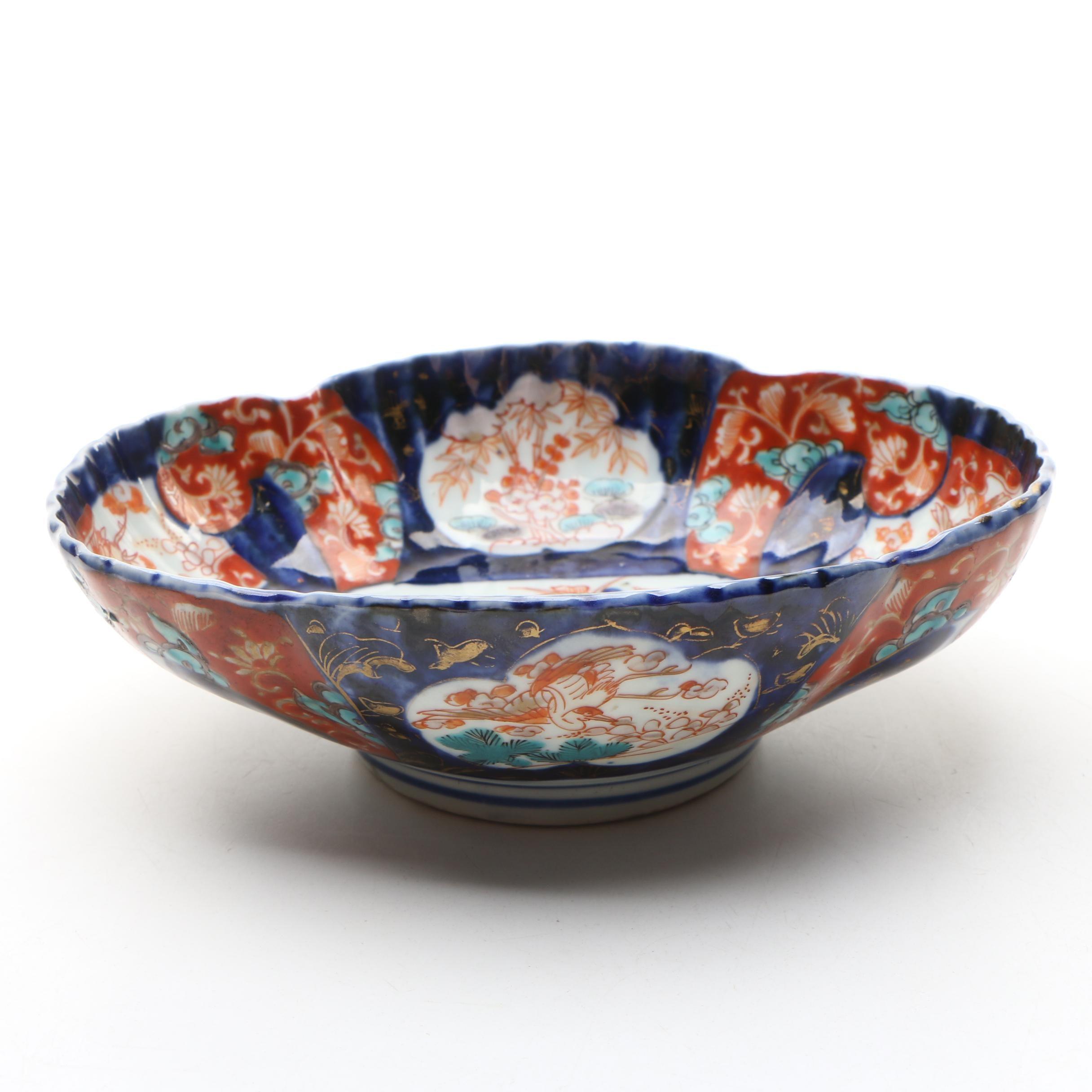 Japanese Imari Hand-Painted Porcelain Lobed Bowl with Scalloped Rim