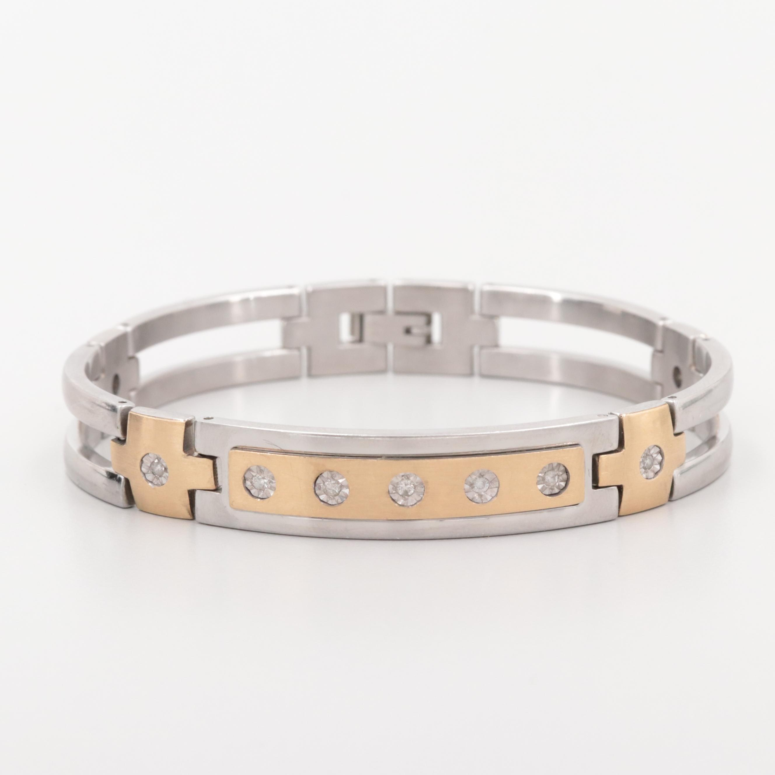 Stainless Steel Diamond Bracelet with 10K Yellow Gold Accents.