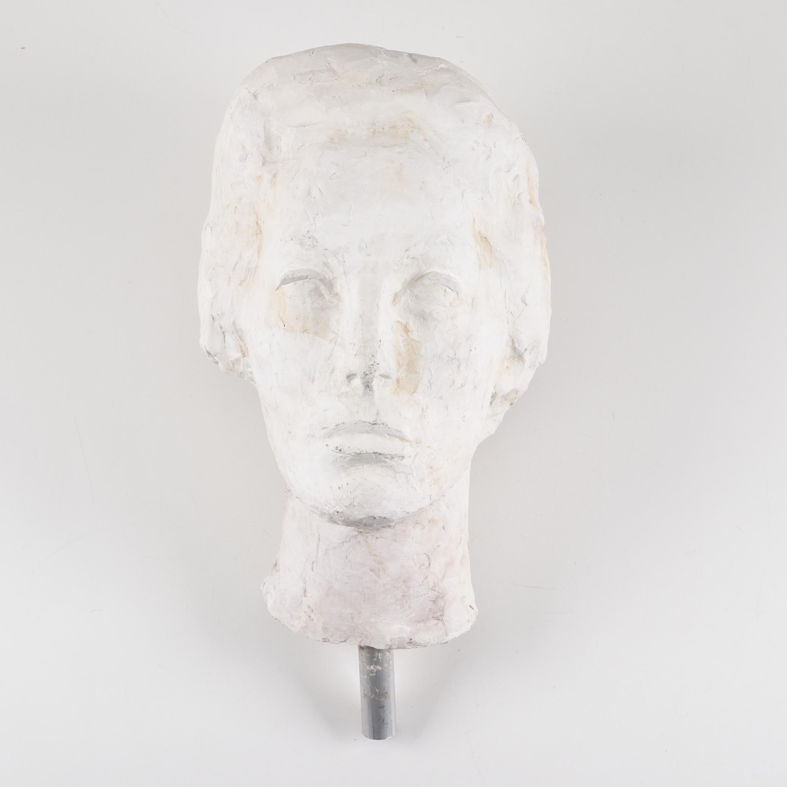 Hand Built Plaster Bust of Woman Sculpture