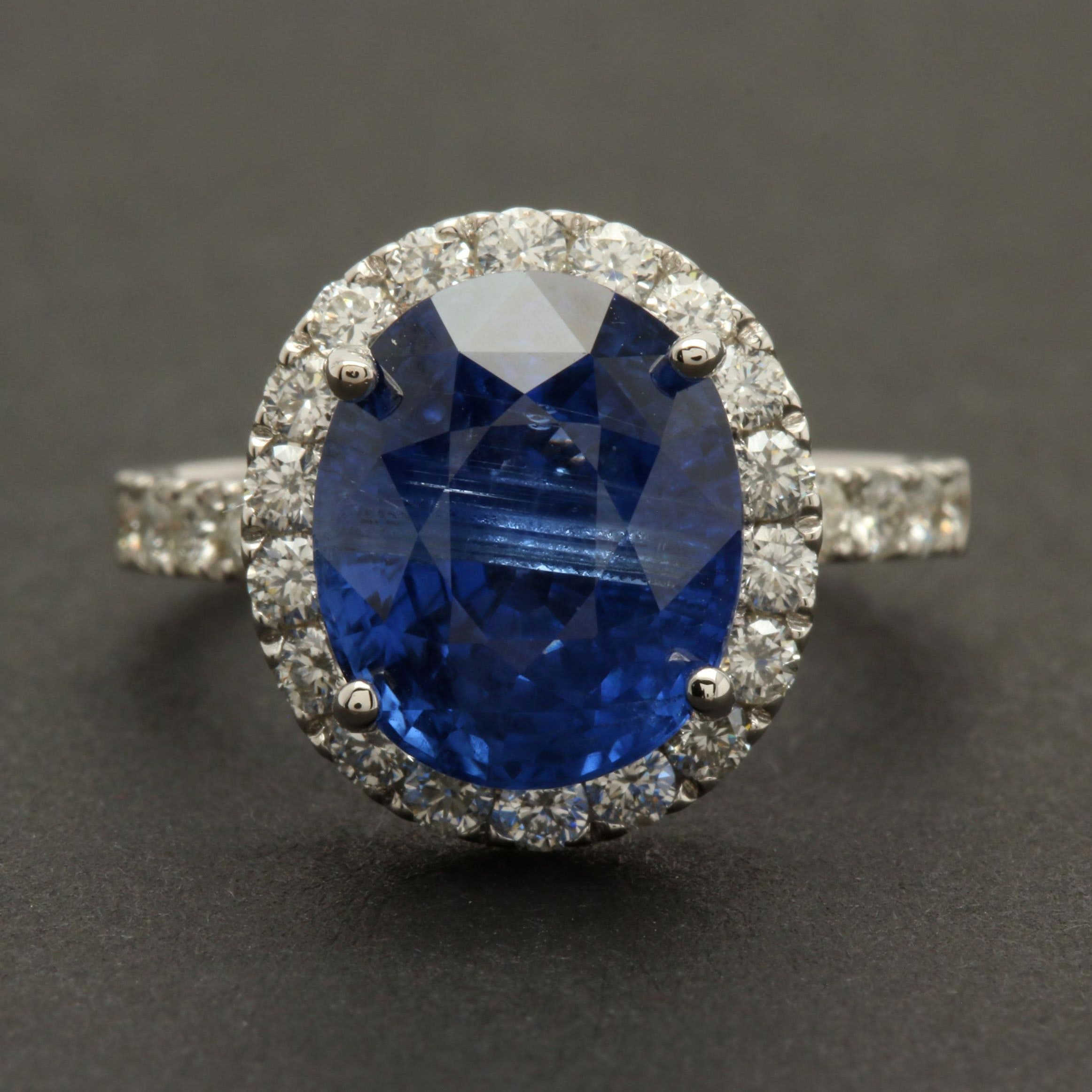 18K White Gold 6.29 CT Violetish Blue Sapphire and Diamond Ring with GIA Report
