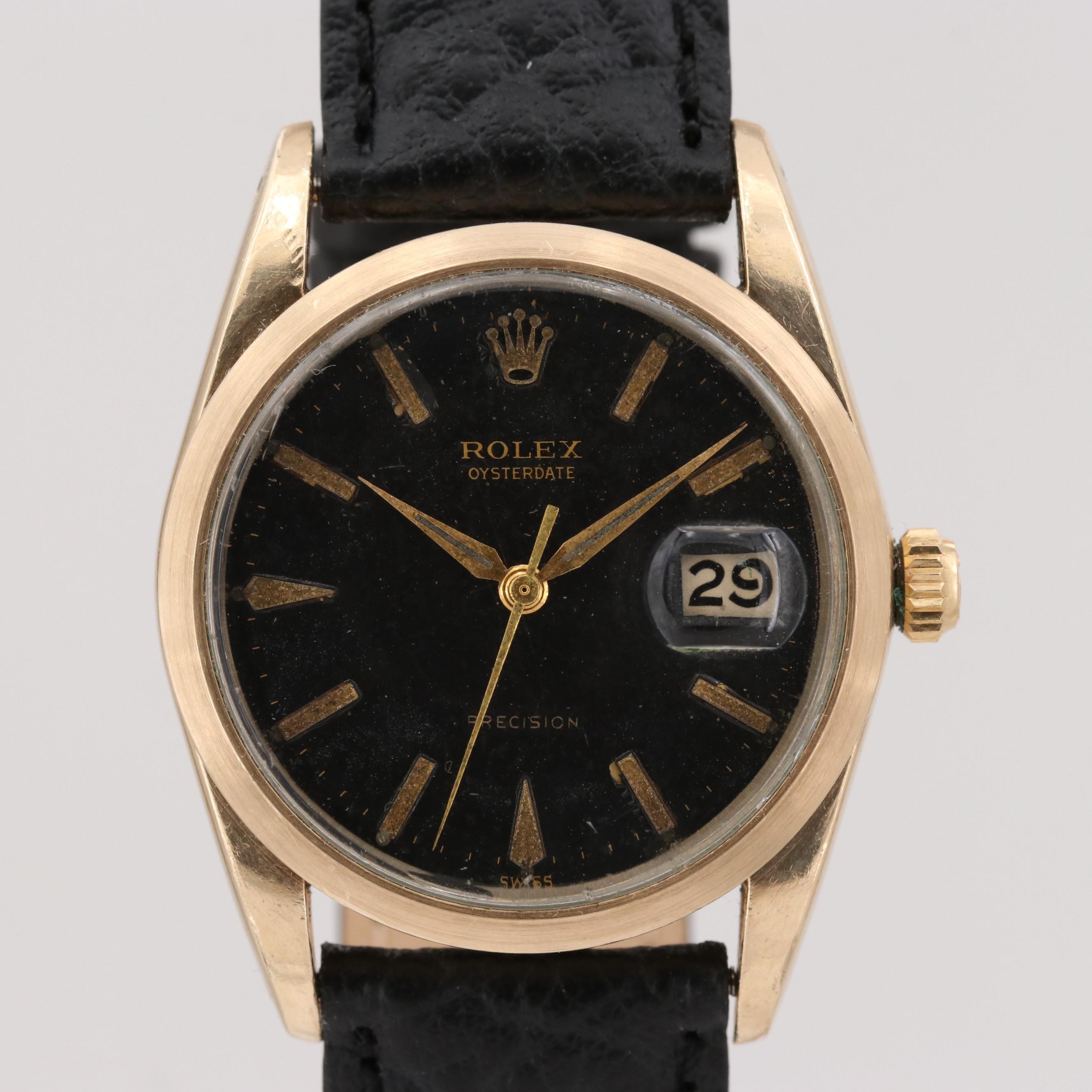 Vintage Rolex Oysterdate  Gold Shell Stem Wind Wristwatch, 1960