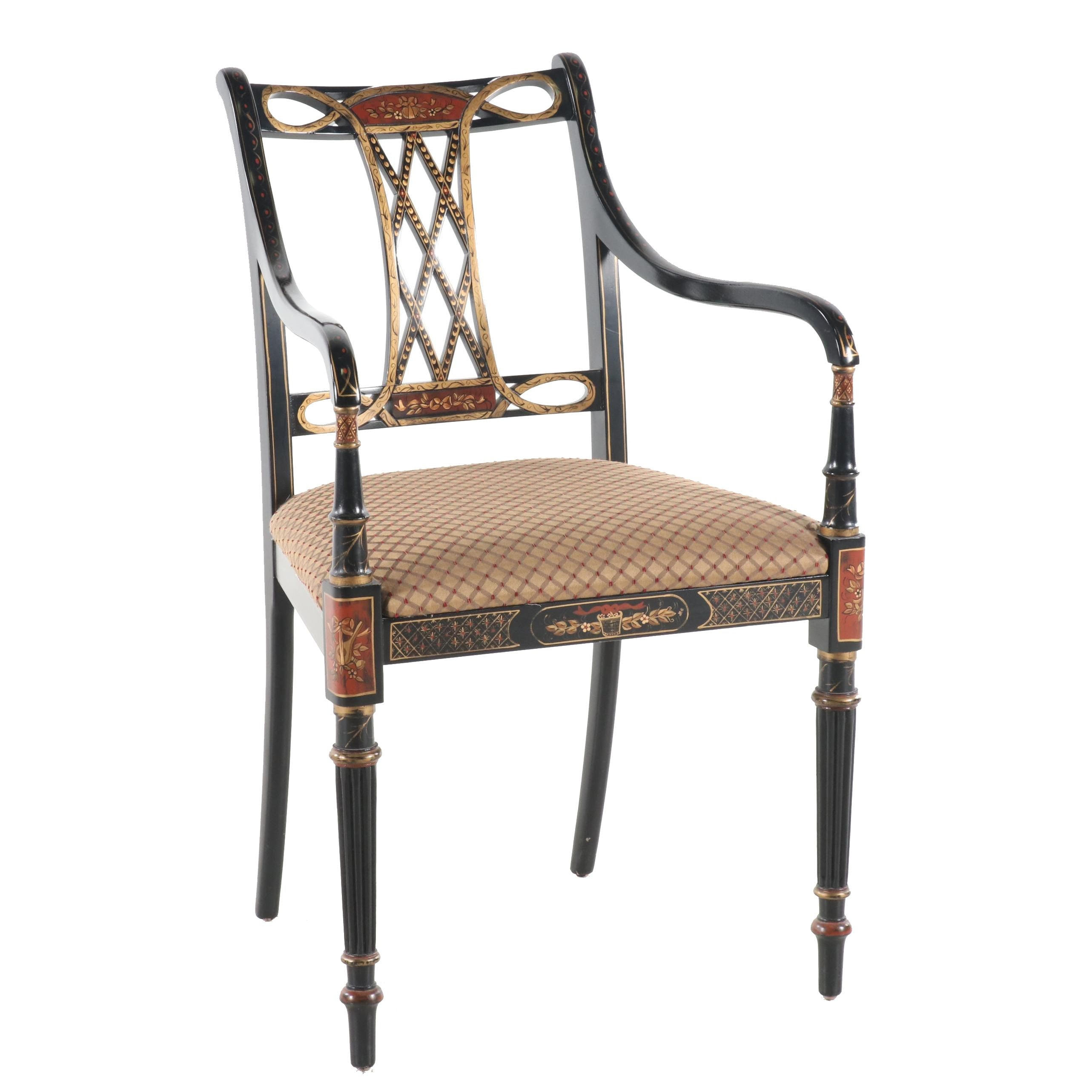 Southwood Furniture Chinoiserie Paint-Decorated Armchair