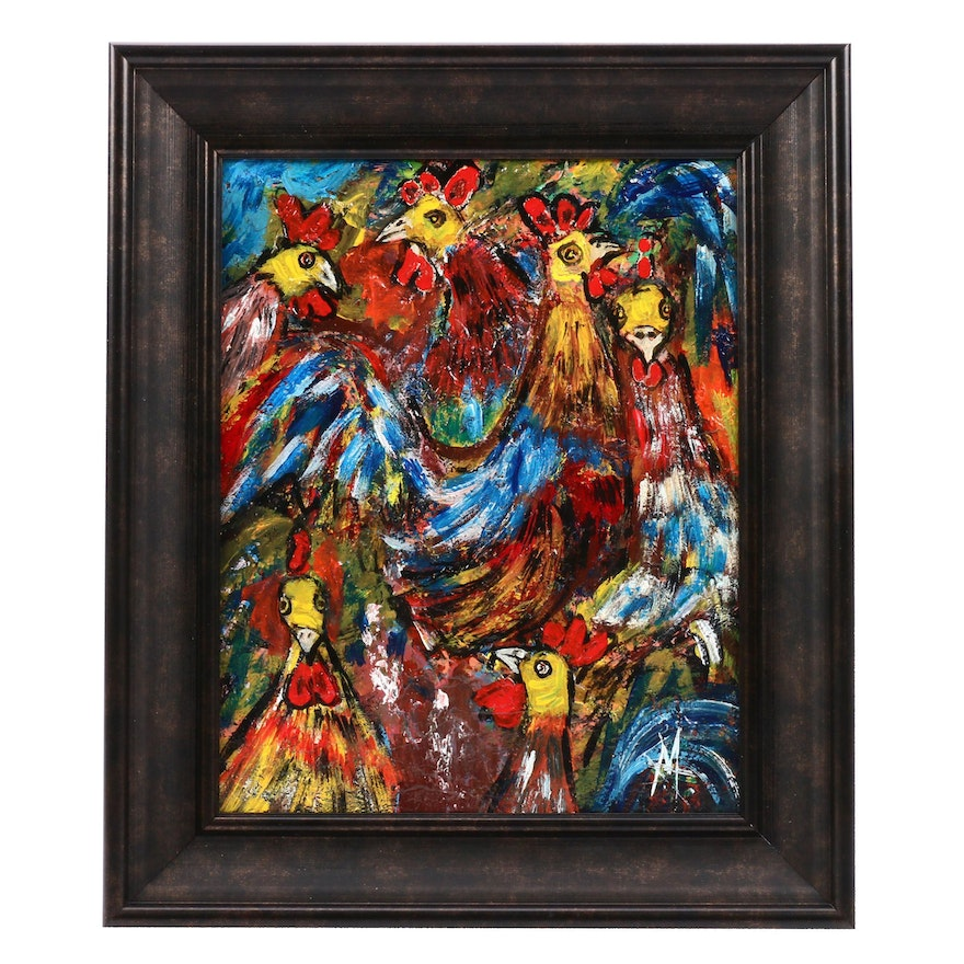"""G. Garreros Acrylic Painting """"Los Gallos (The Roosters)"""""""