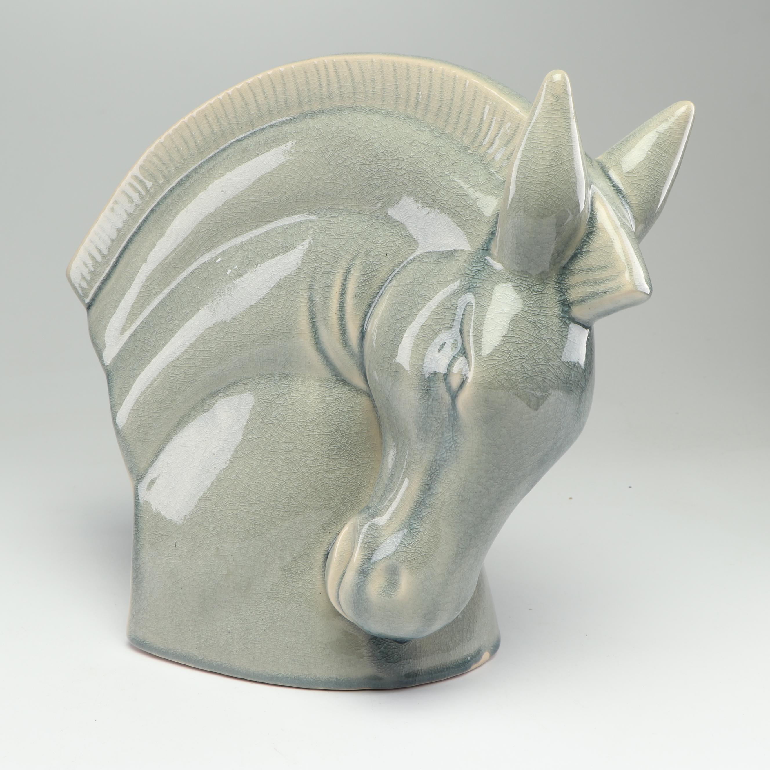 Contemporary Ceramic Horse Head Sculpture