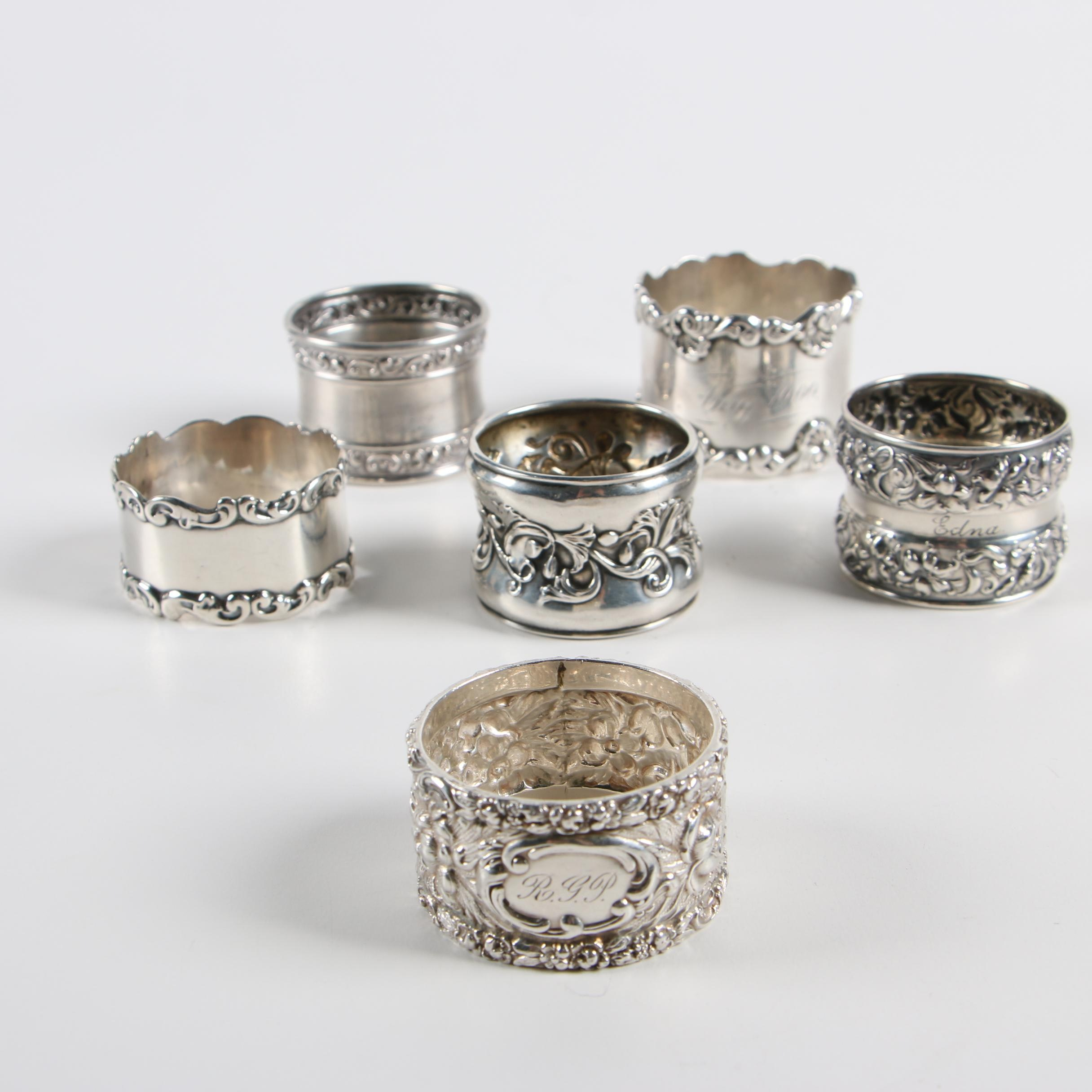 Sterling Silver Napkin Rings including Gorham and Towle
