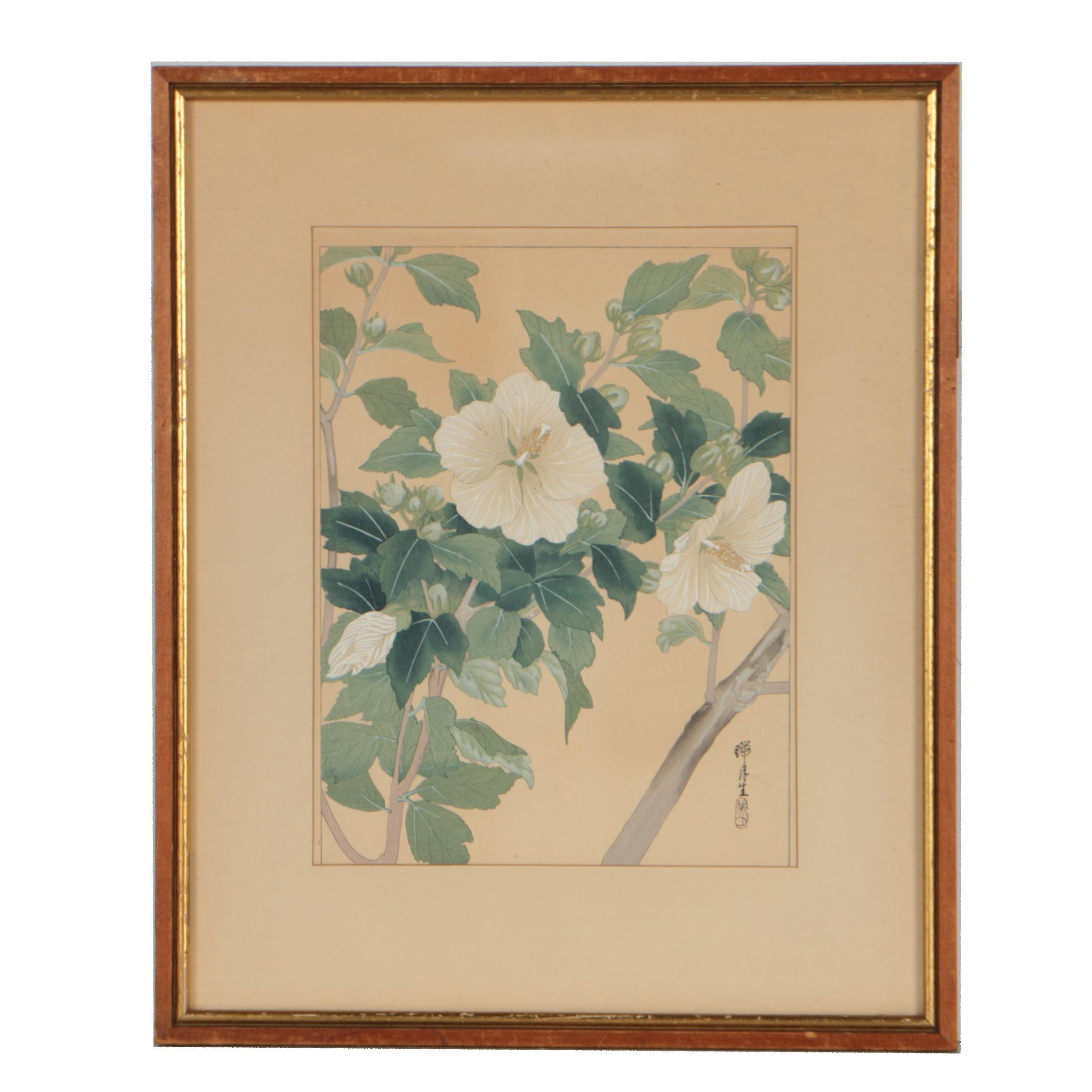 East Asian Woodblock of Hibiscus