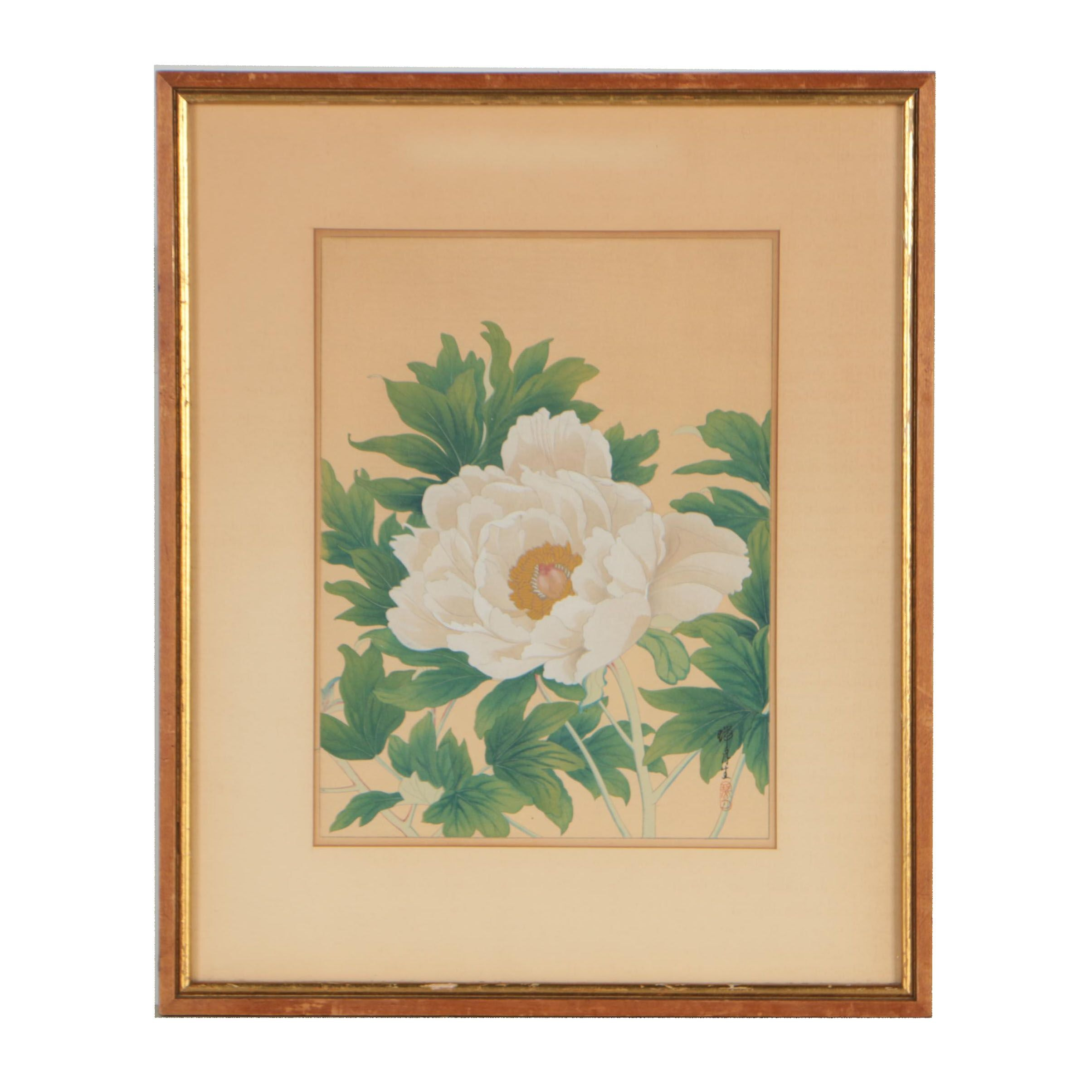 East Asian Woodblock of Peony