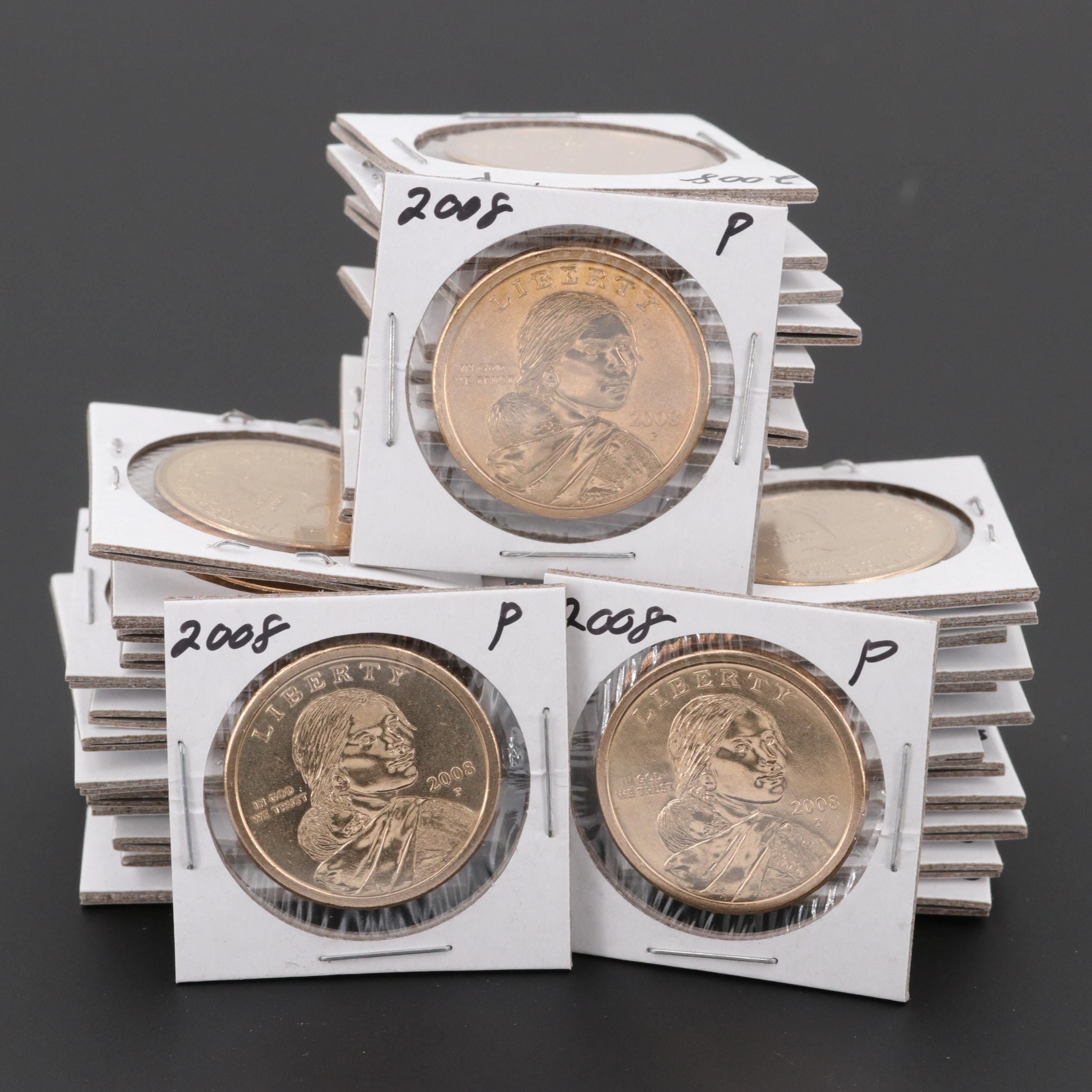 Forty Uncirculated 2008-P and 2008-D Native American Dollar Coins