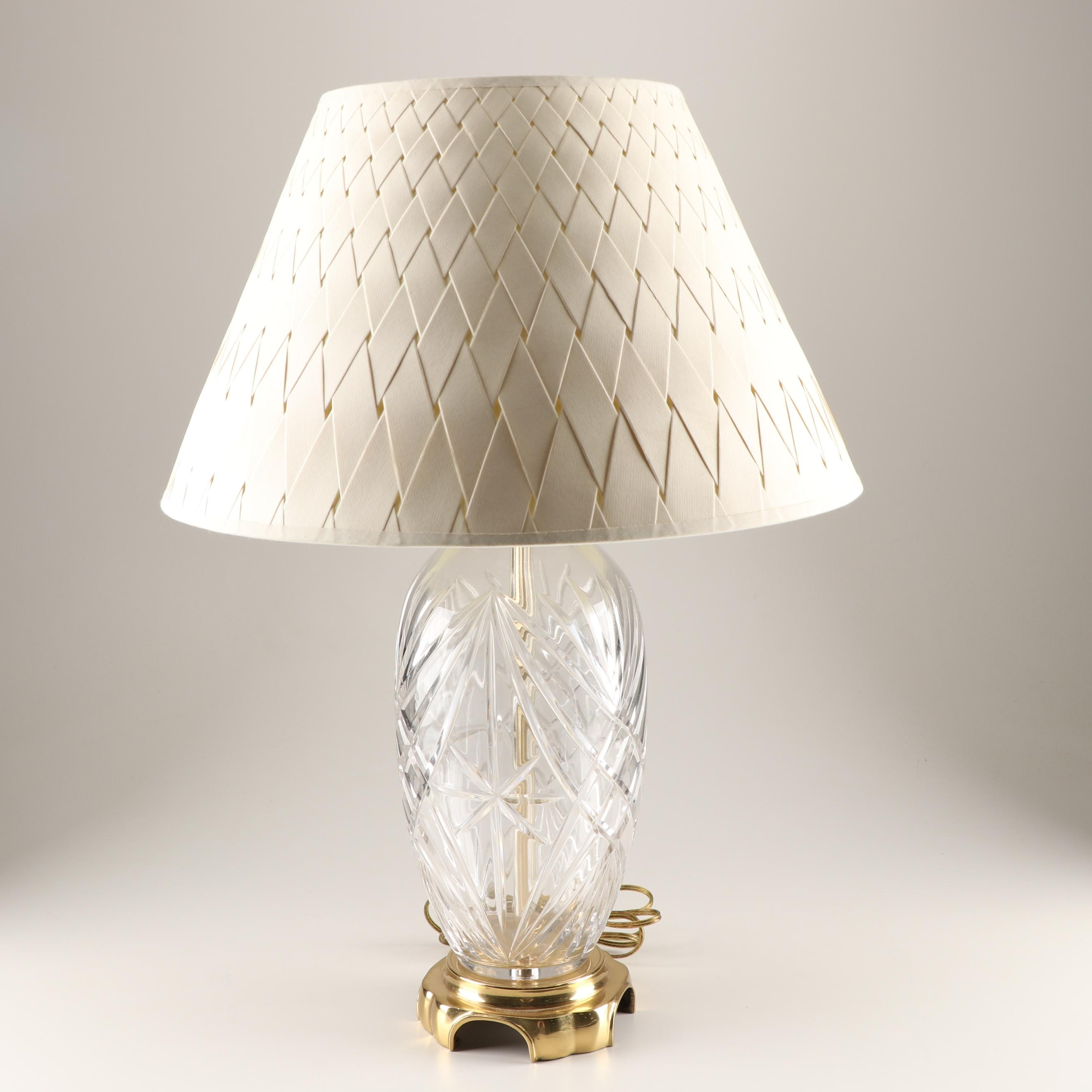 Remington Cut Glass Table Lamp with Woven Shade