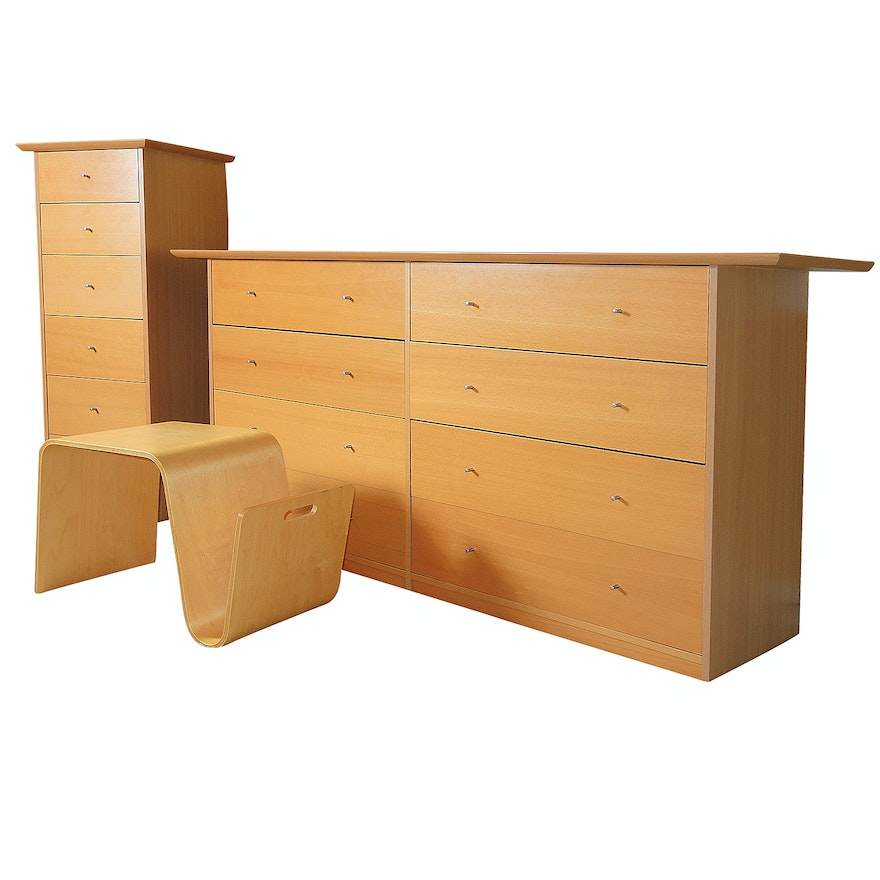 Contemporary Wooden Dresser, Tall Chest of Drawers and Bentwood Magazine Table
