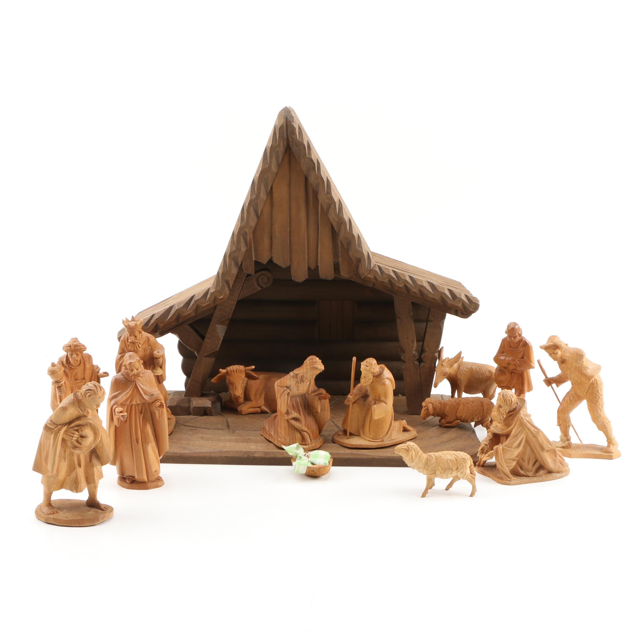Karl Storr Carved Wooden Nativity Scene Figures with Wooden Stable
