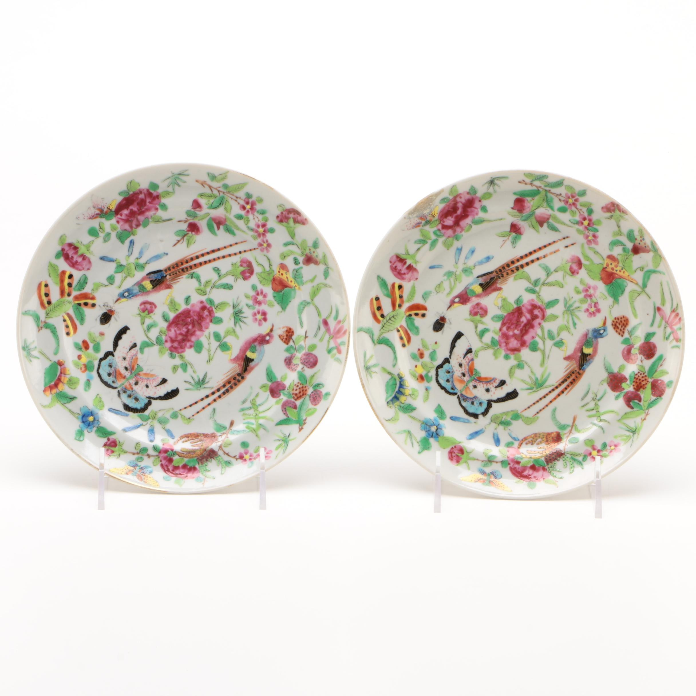 Chinese Hand-Painted Rose Medallion Style Plates
