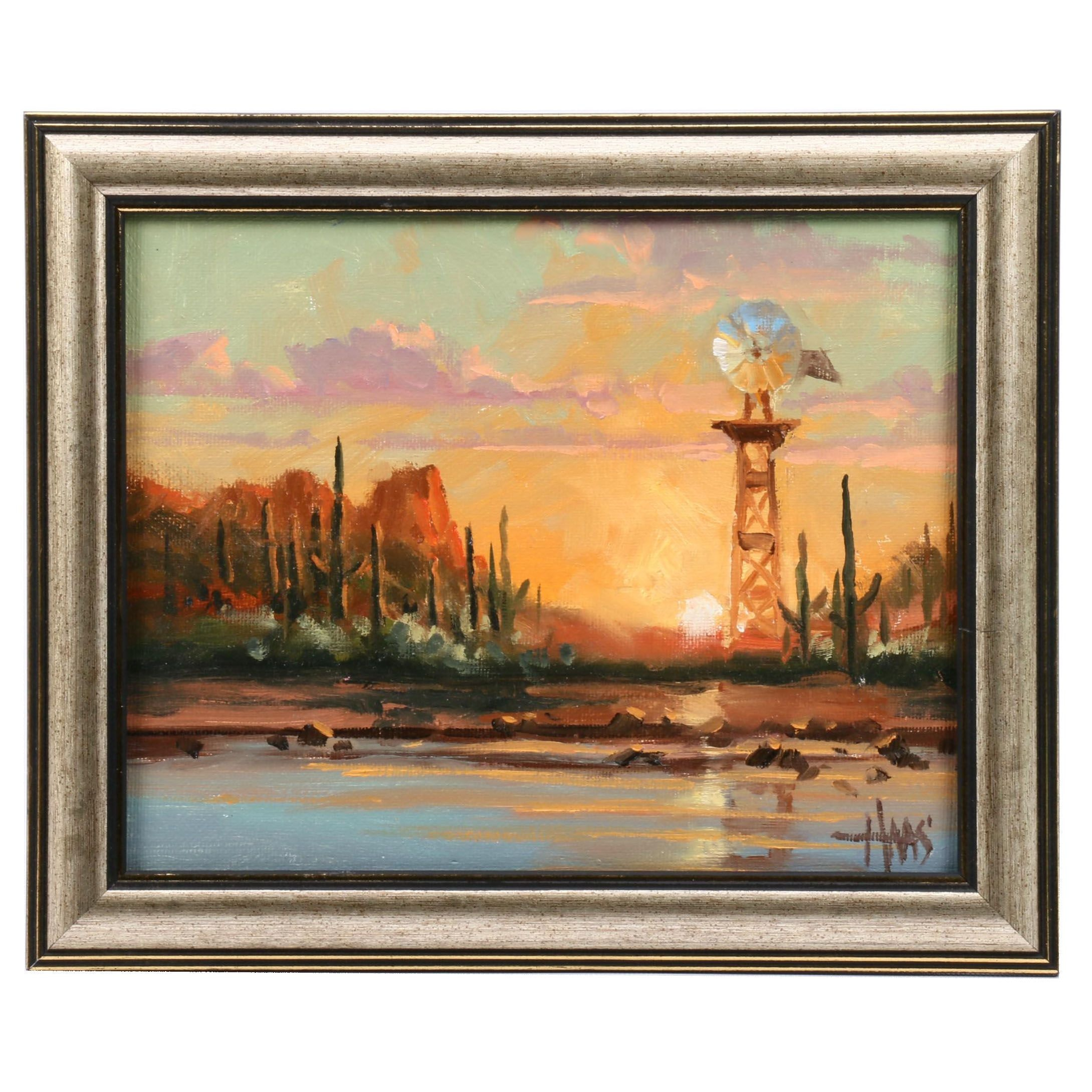 Tom Haas Oil Painting of Western Landscpape with Windmill