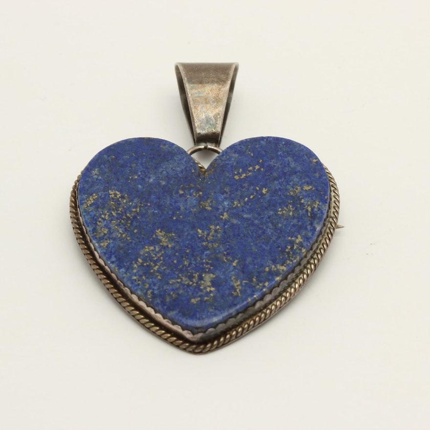 J. Silfka Designs Sterling Silver Lapis Lazuli Converter Pendant or Brooch