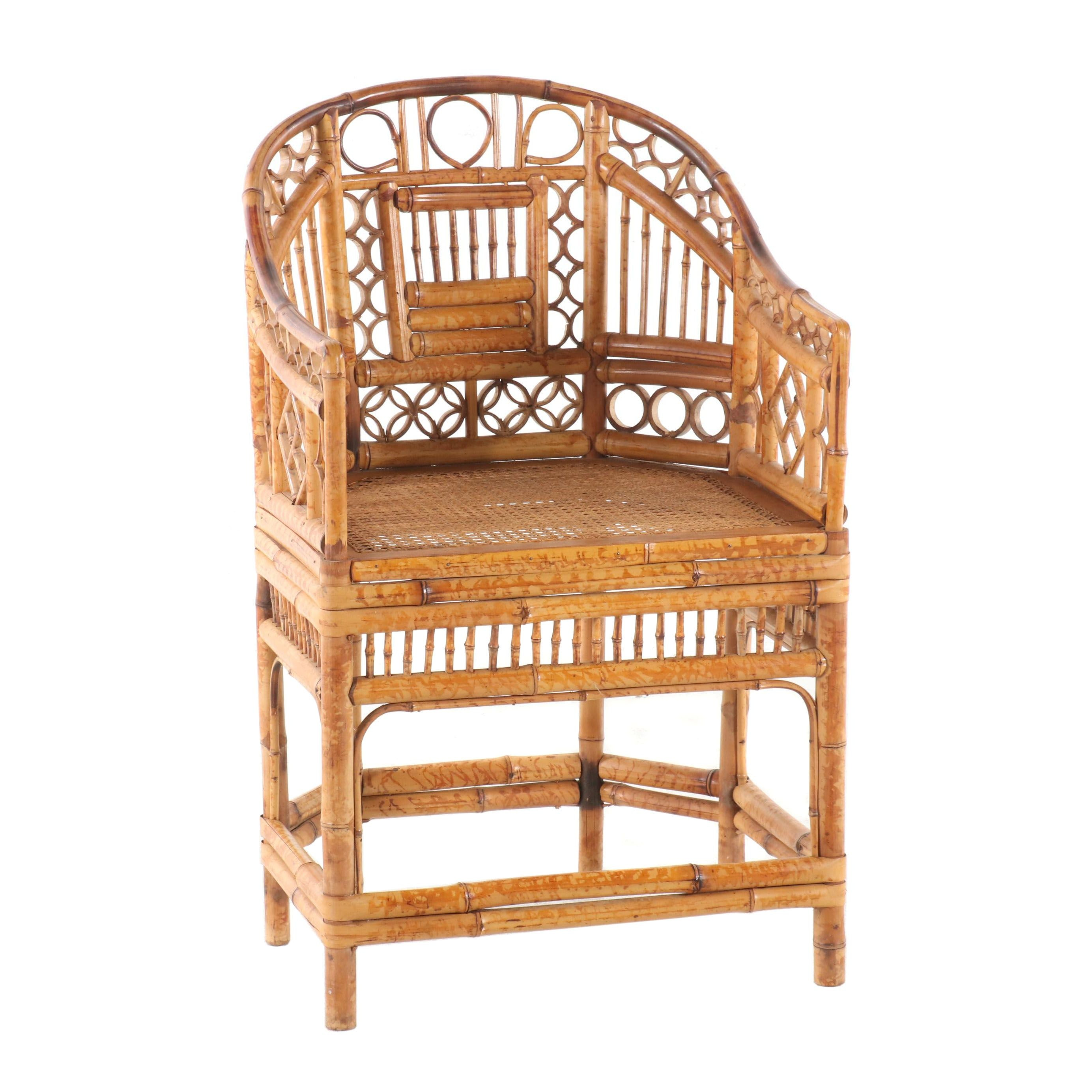 Chinese Bamboo Roundback Armchair, Mid 20th Century