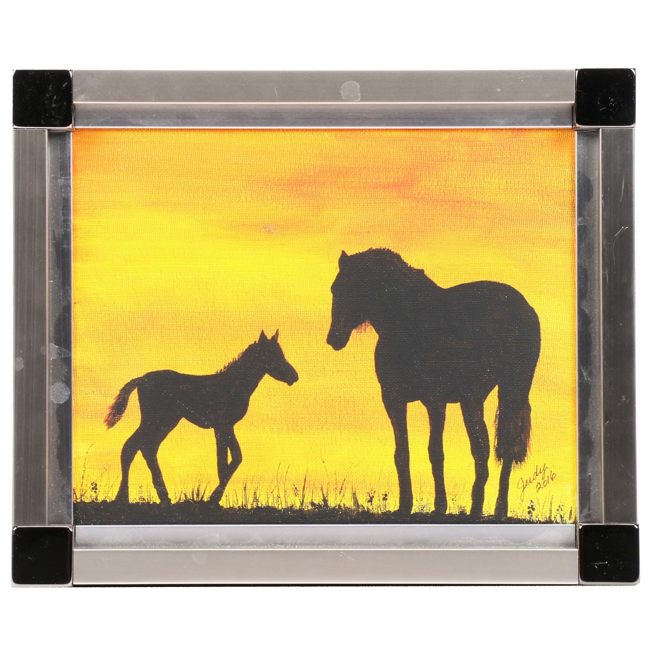Acrylic Painting of Horse and Foal Sillouhetted at Sunset