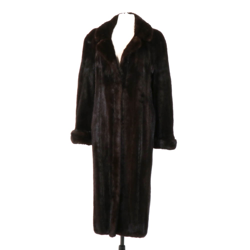 Mahogany Mink Fur Coat with Cuffs