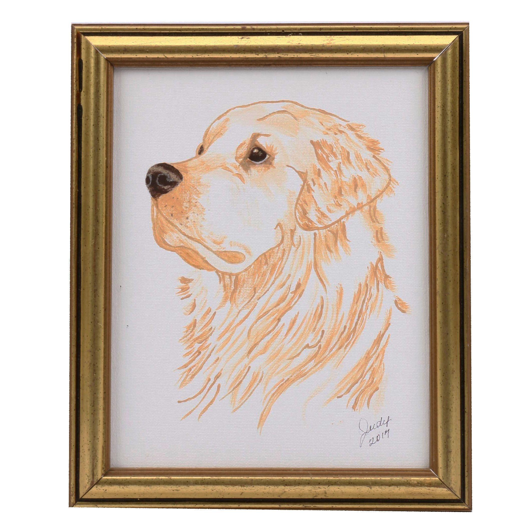 Acrylic Painting of Golden Retriever