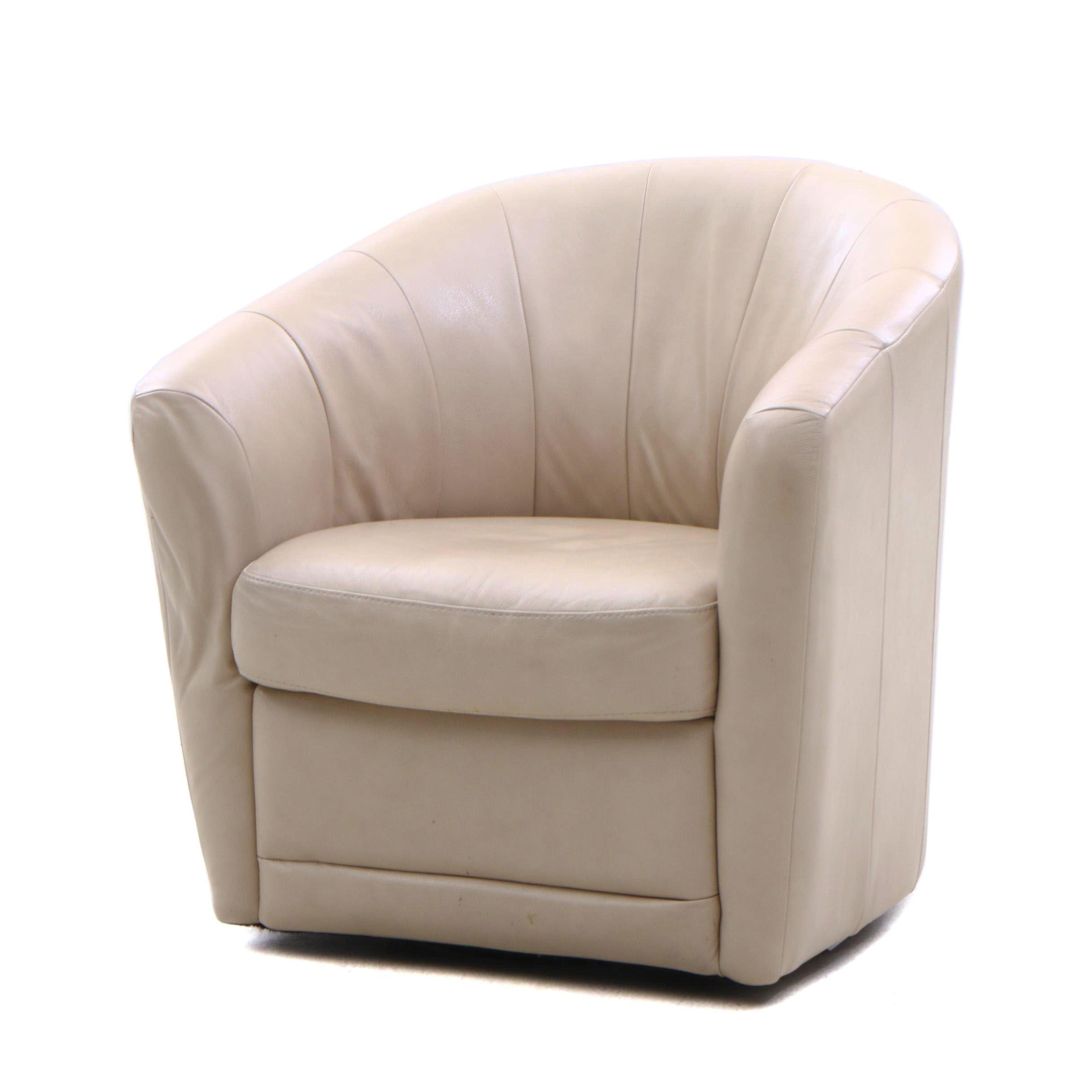 "Natuzzi ""Mazaro"" Leather Swiveling Barrel Chair, Contemporary"