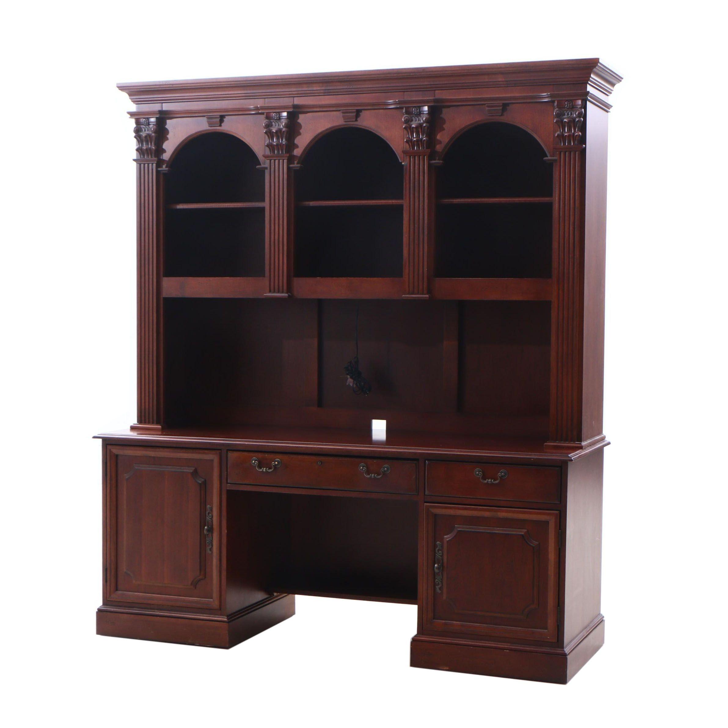 Hooker Georgian Style Mahogany Finish Illuminated Desk and Bookshelf