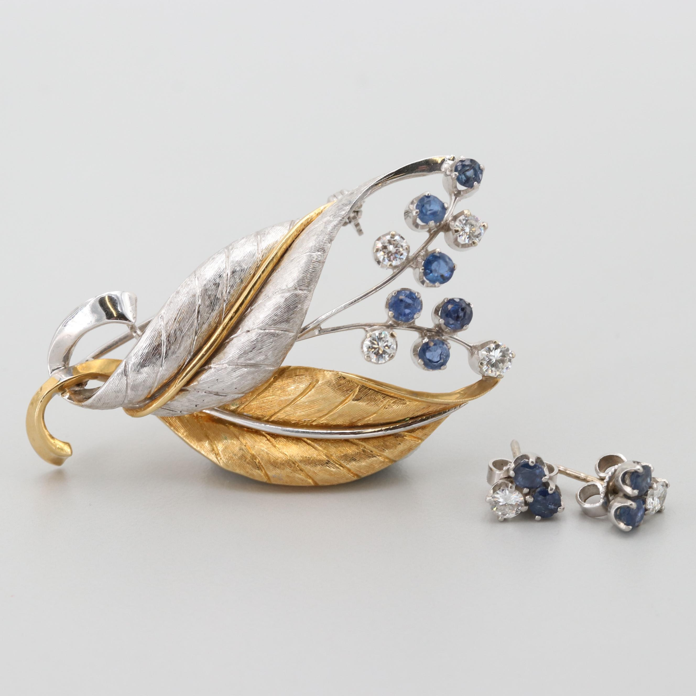 18K Gold Diamond and Sapphire Brooch with Matching Platinum Stud Earrings
