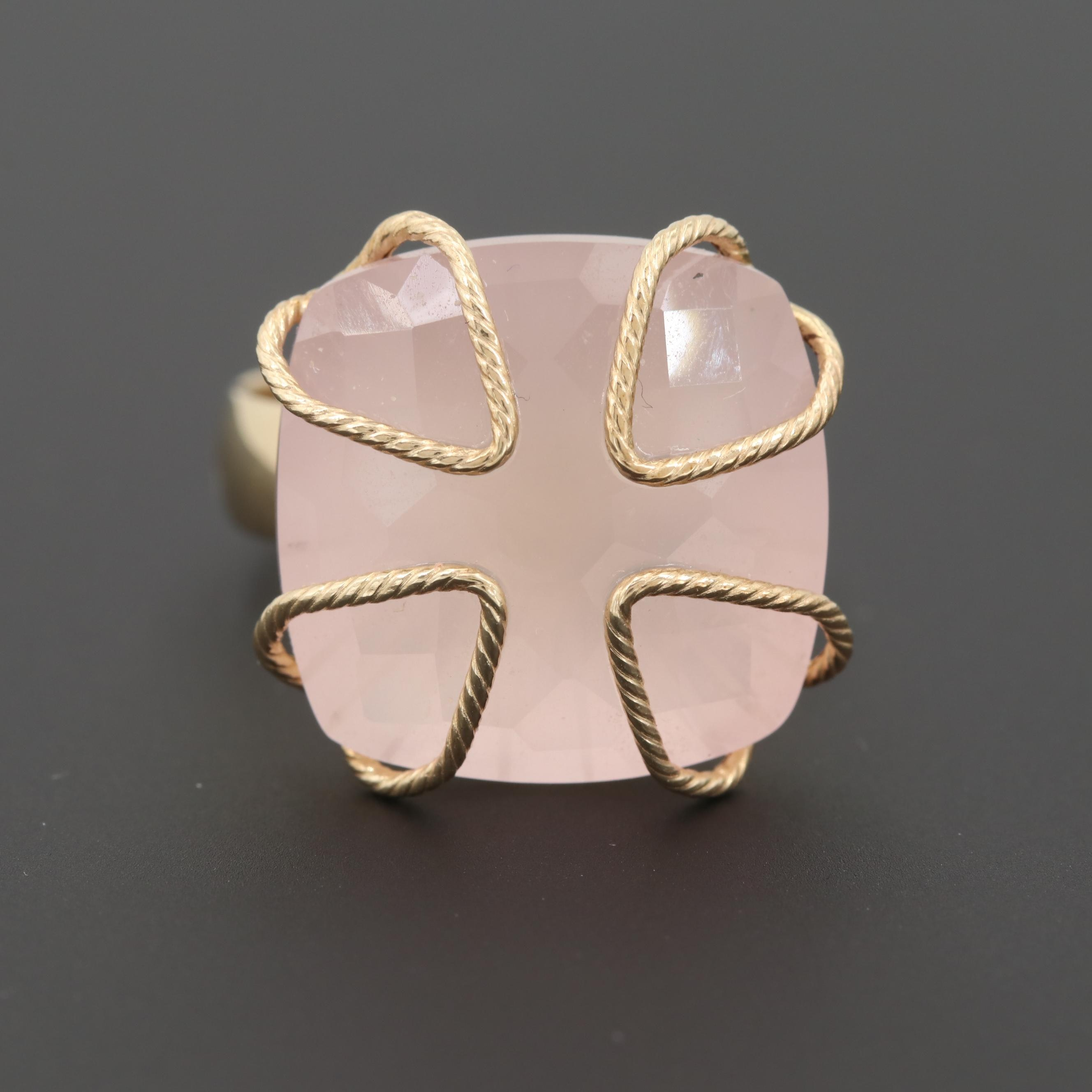 14K Yellow Gold Rose Quartz Ring