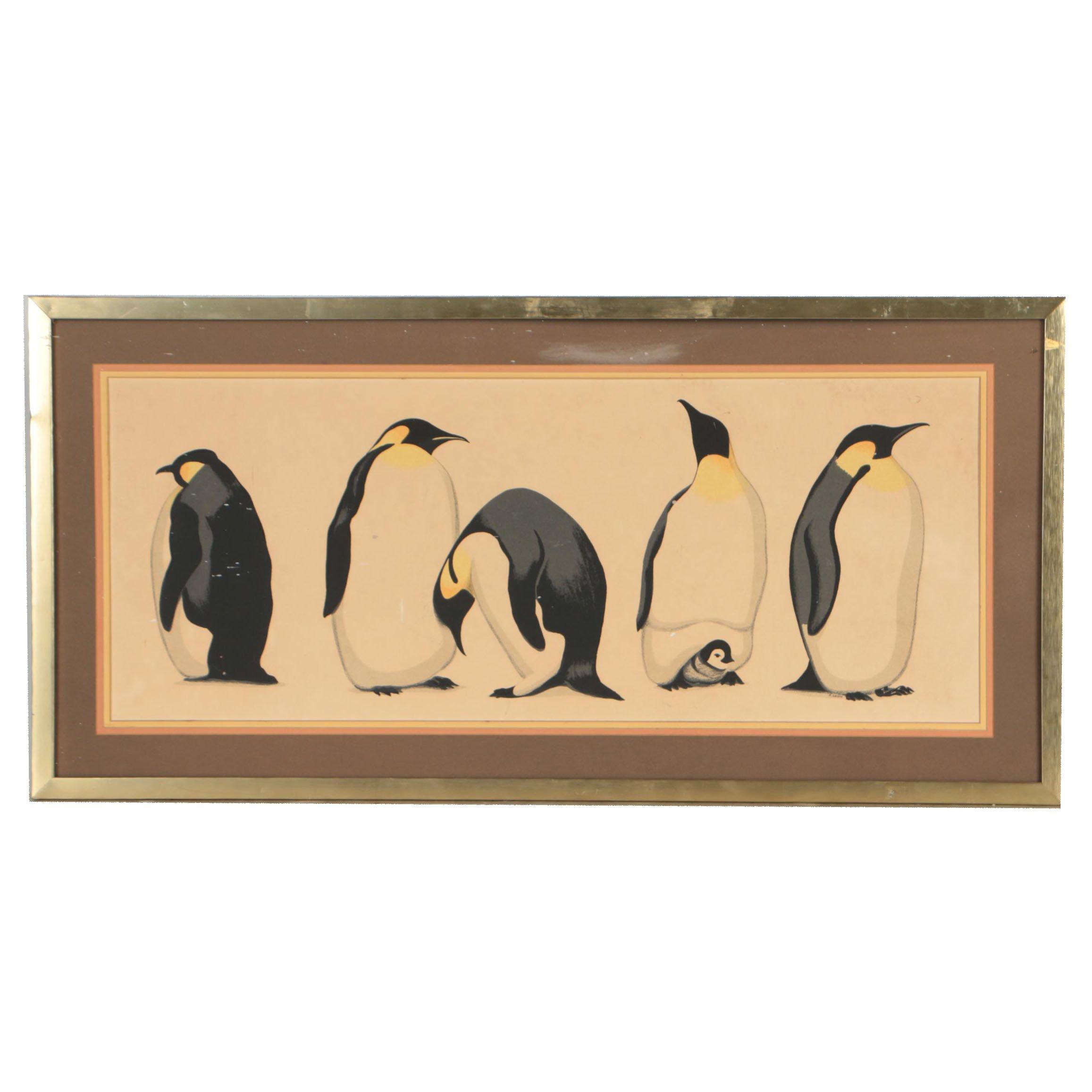 "Serigraph after David Grose ""Penguin Parade"""