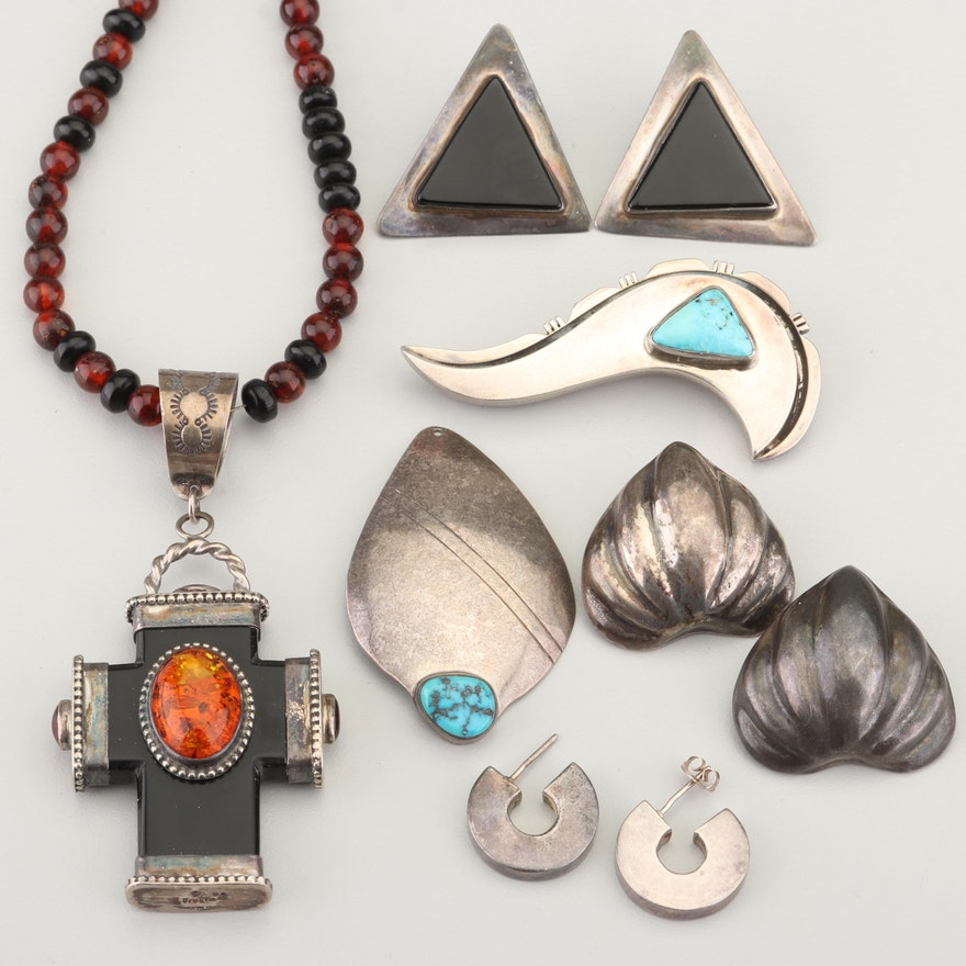 Southwestern Style Sterling Jewelry Including David Troutman Navajo Diné Cross