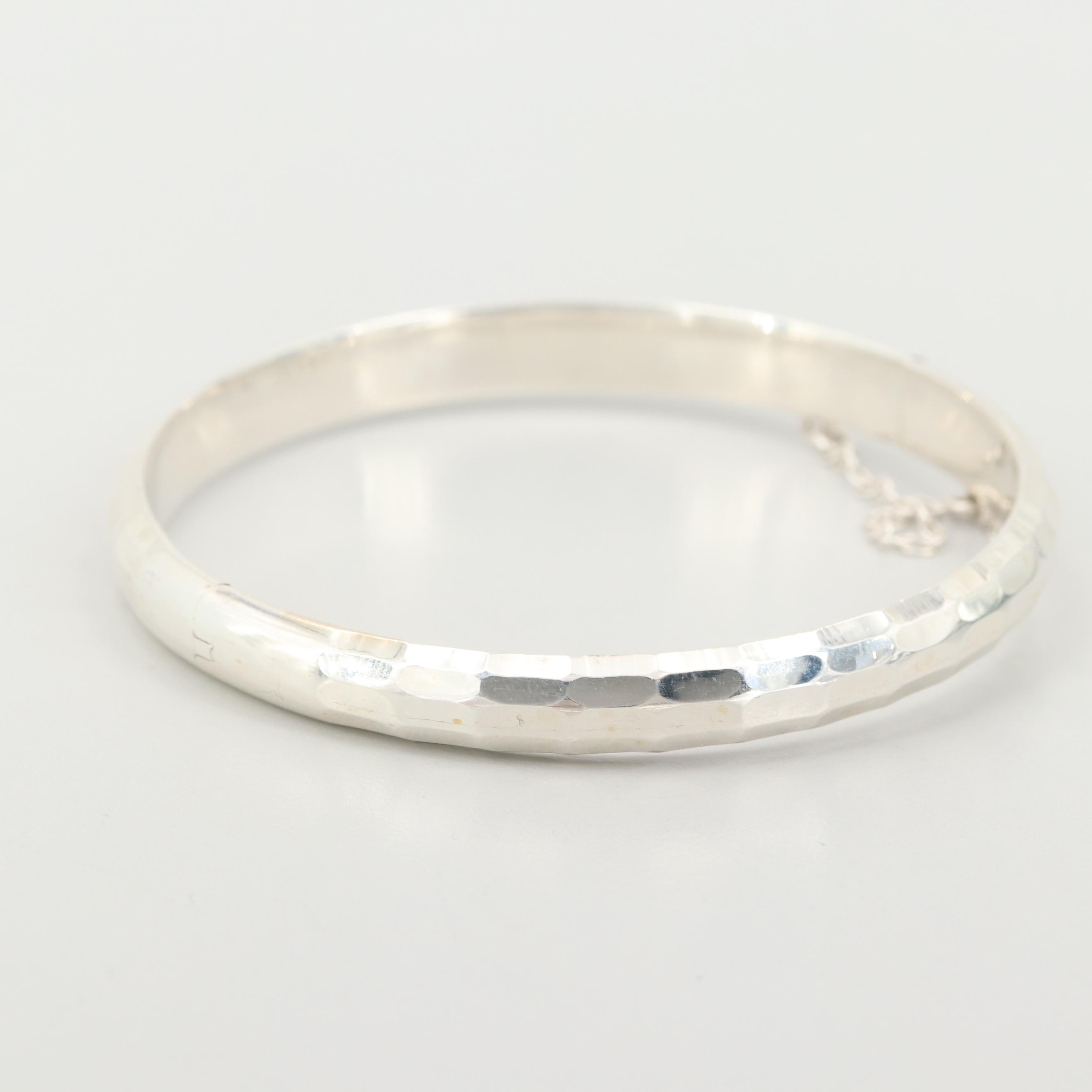 Sterling Silver Hinged Bangle Bracelet with Faceted Design