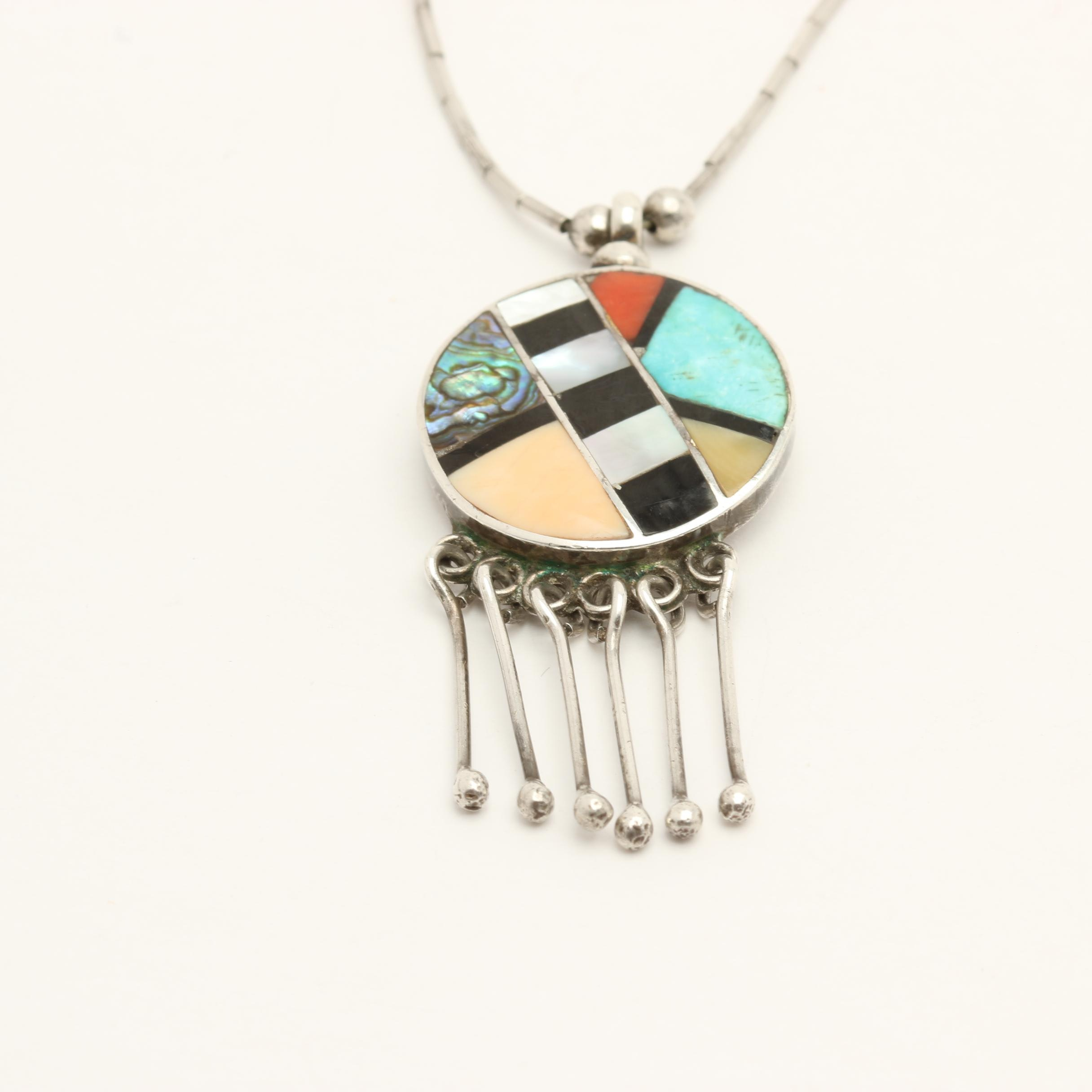 RLK Sterling Silver Multi-Stone Pendant Necklace