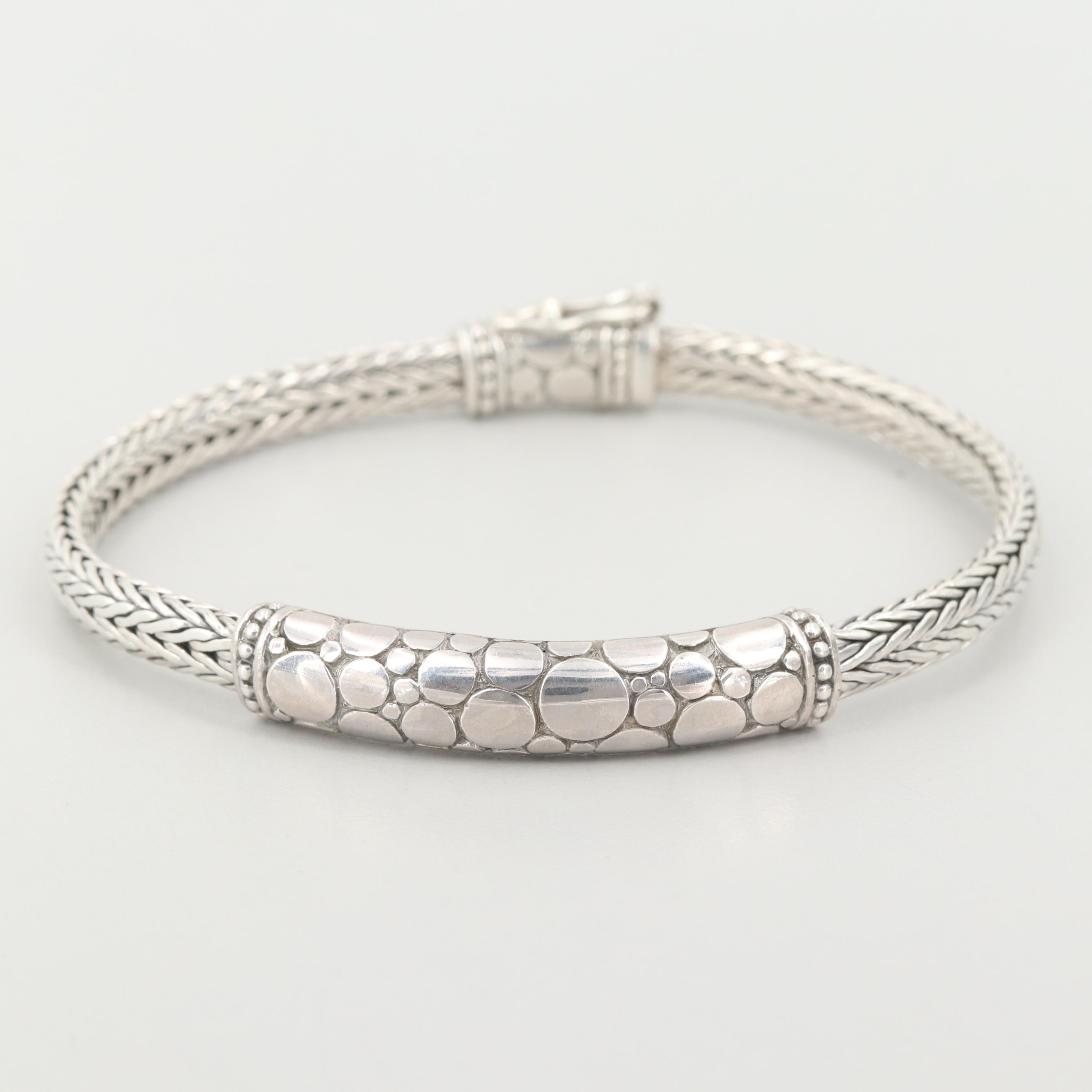 Sarda Sterling Silver Bracelet with Foxtail Chain and Concentric Motif