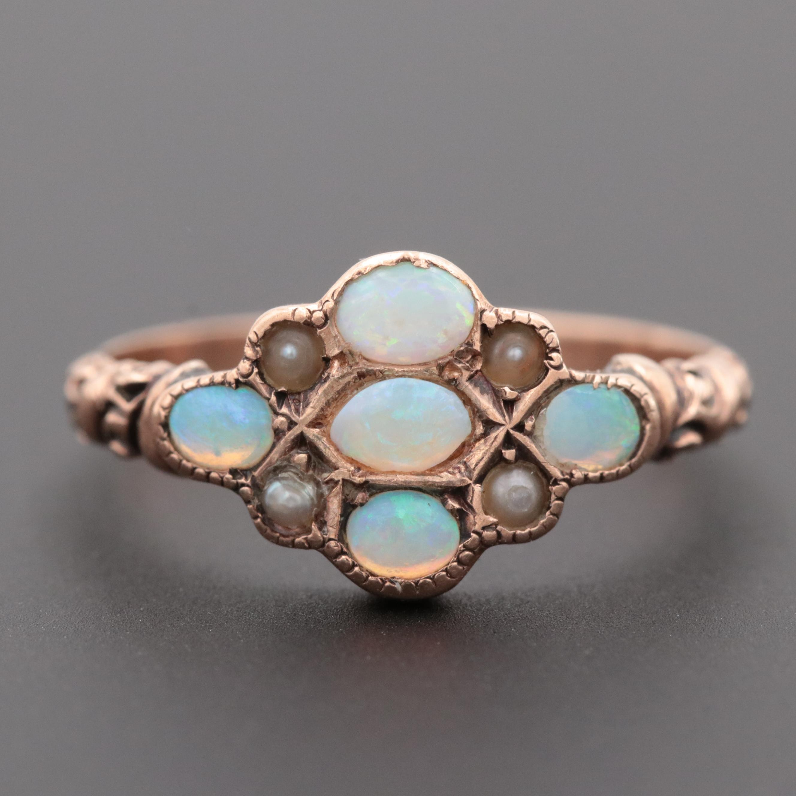 Victorian 10K Rose Gold Opal and Seed Pearl Ring