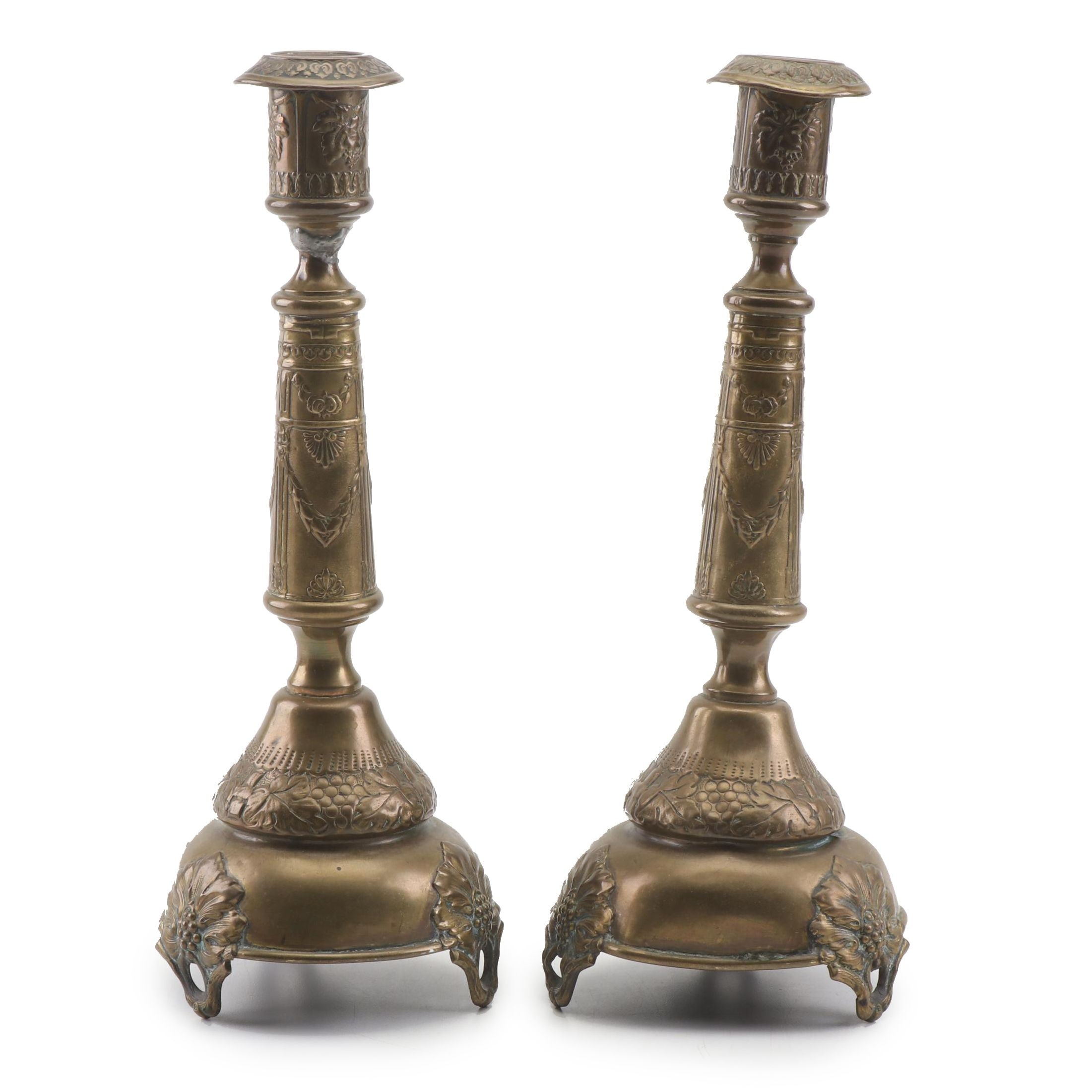 Polish M. Spiro Brass Candlesticks, Late 19th/Early 20th Century