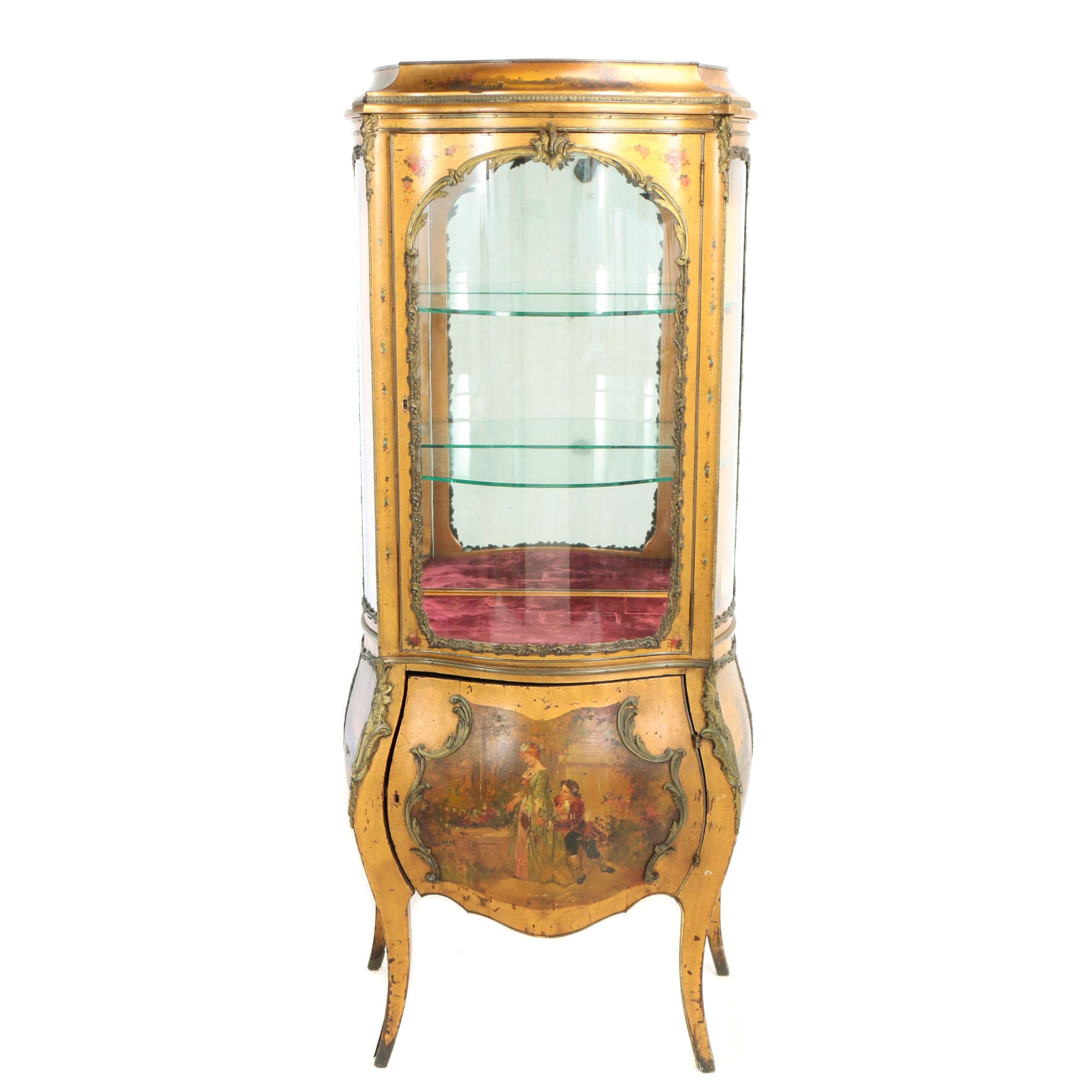 Louis XV Style Gilt-Metal Mounted and Vernis Martin-Decorated Giltwood Vitrine