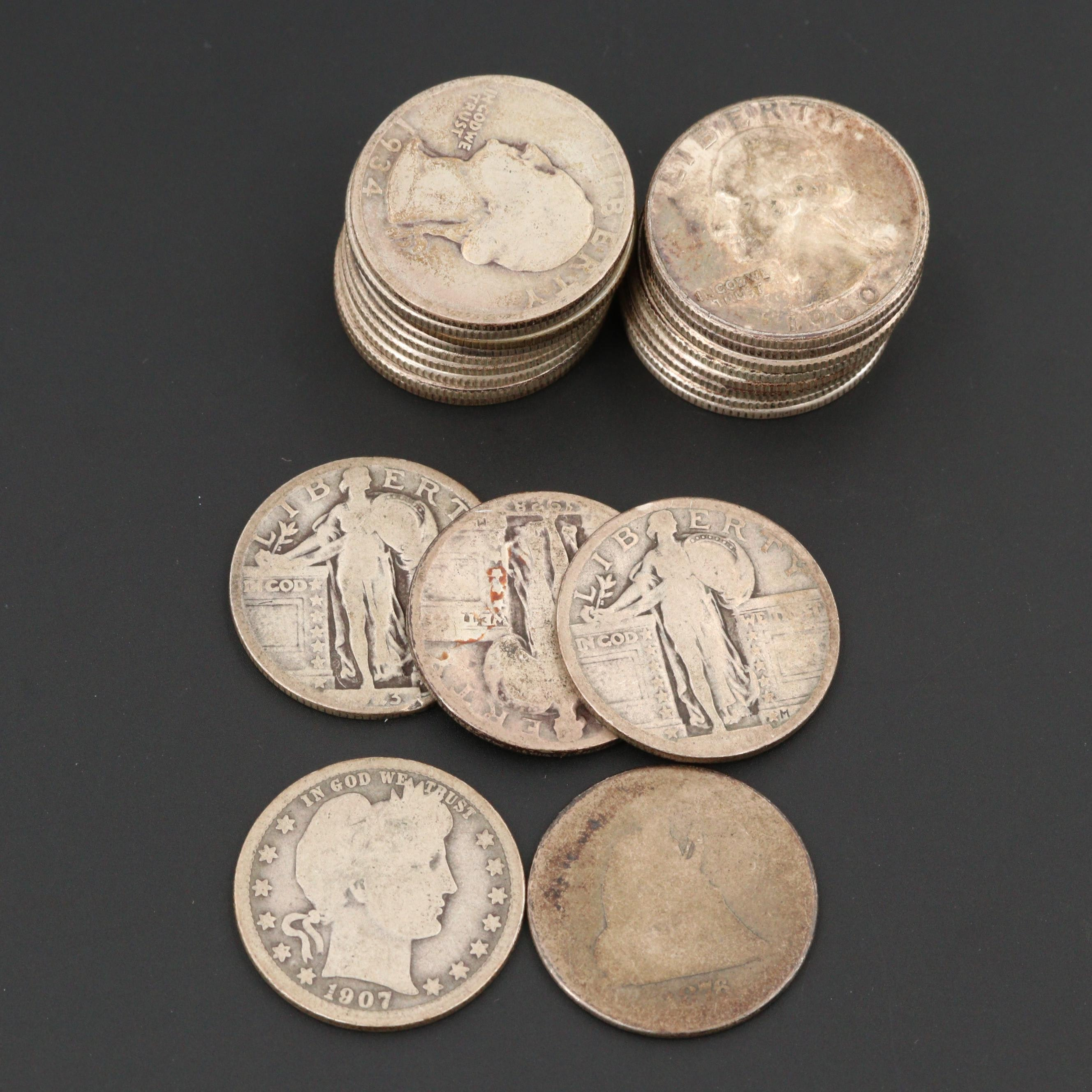 Twenty-One Antique to Vintage U.S. Silver Quarters