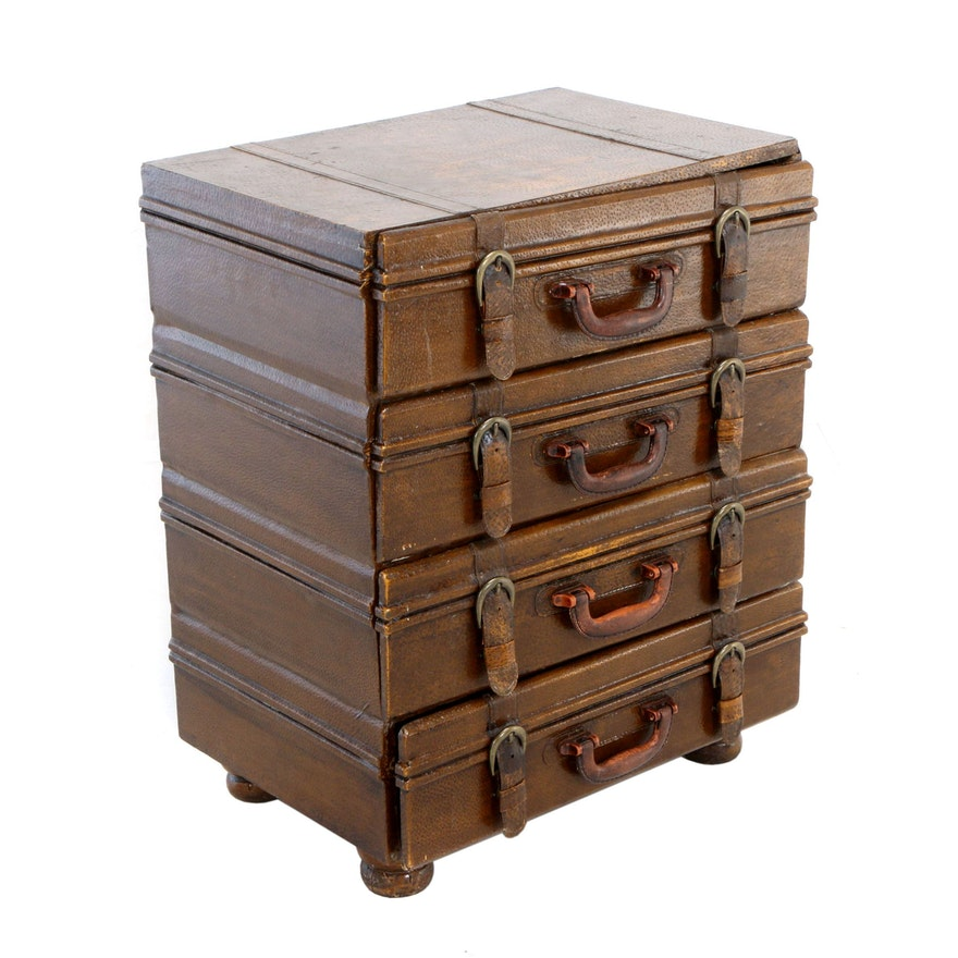 """Contemporary """"Stacked Luggage"""" Bedside Chest of Drawers"""
