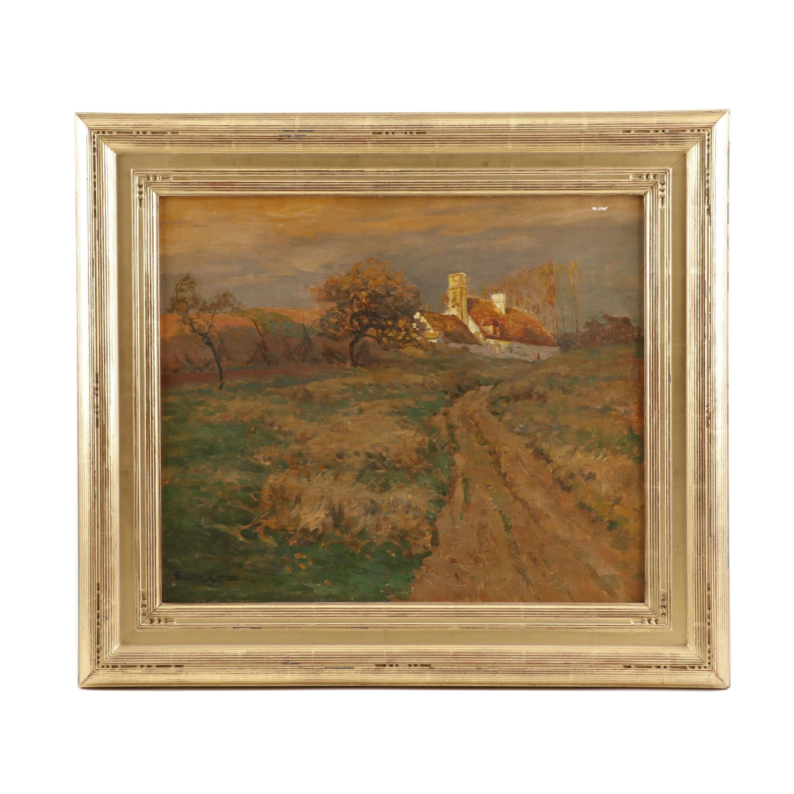 Walter L. Greene Oil Painting of a Country Road