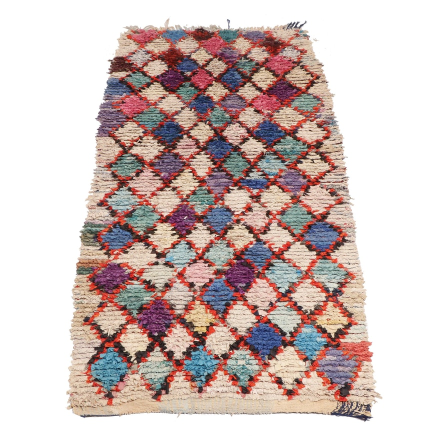 Hand-Knotted Moroccan Boucherouite Cotton Rug