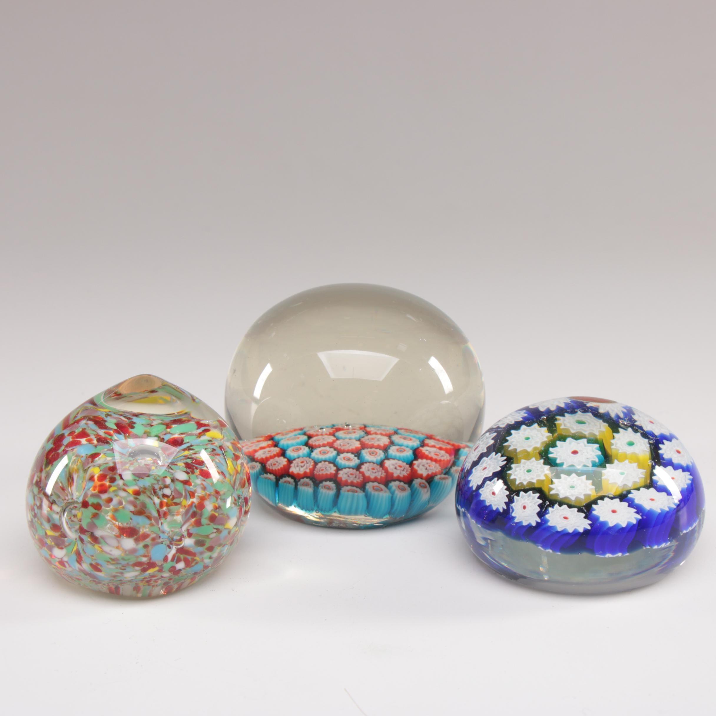 Italian Millefiori Art Glass Paperweights including Murano