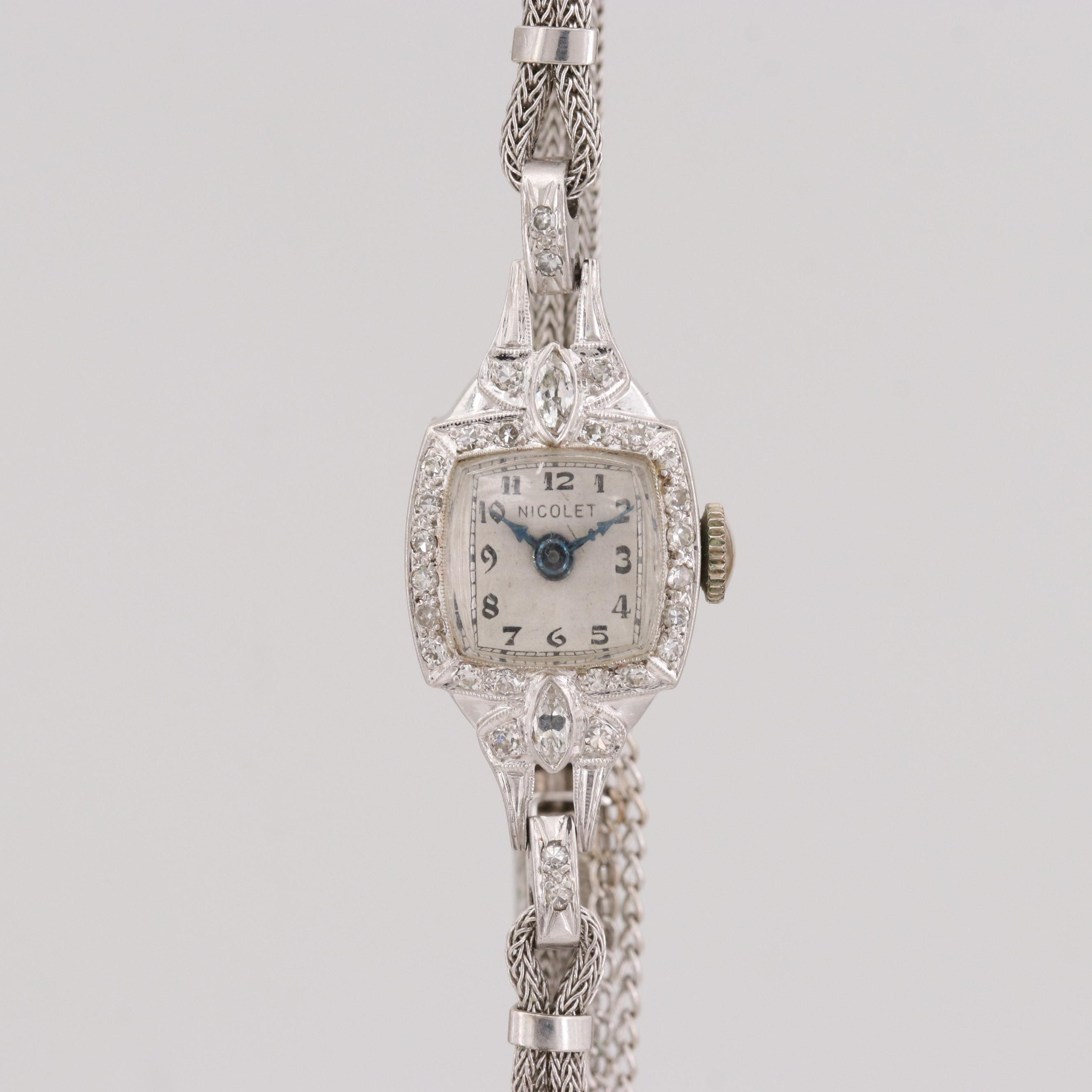 Vintage Nicolet Platinum Diamond Stem Wind Wristwatch