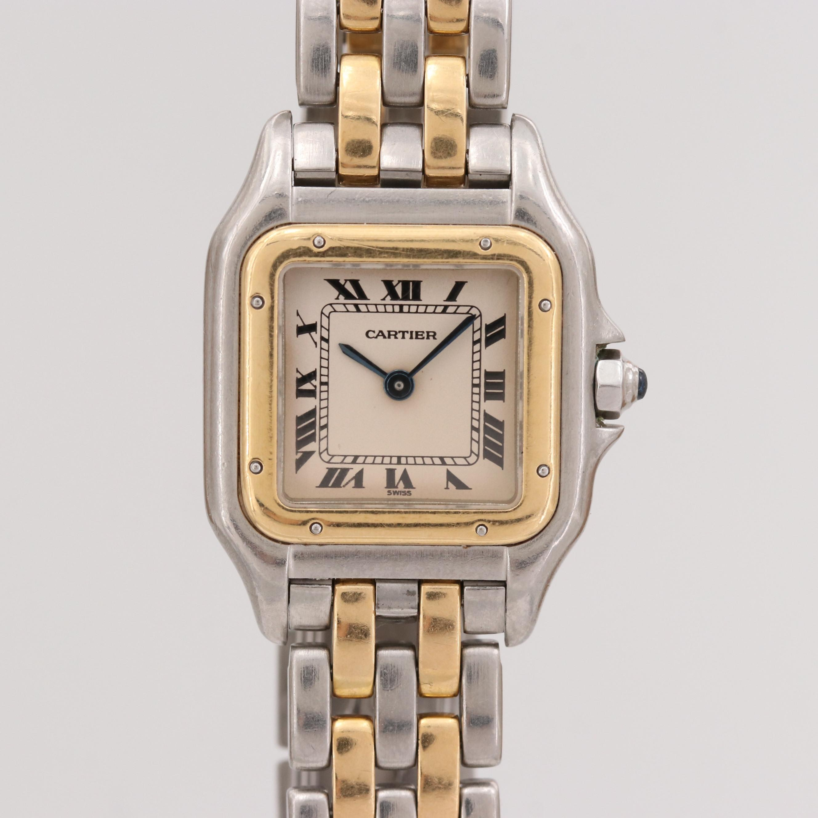 Vintage Cartier Panthére 18K Yellow Gold and Stainless Steel Quartz Wristwatch