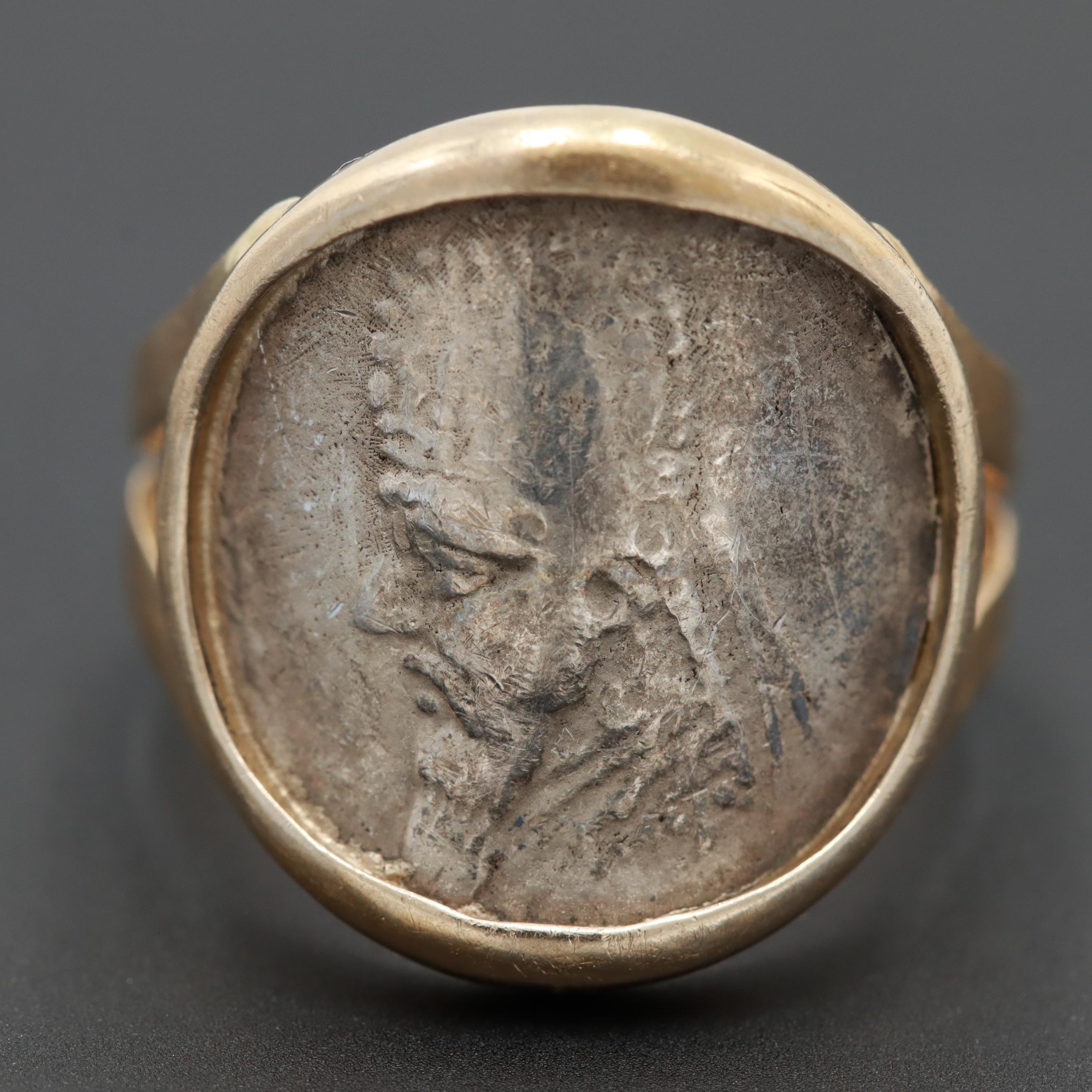 18K Yellow Gold Ring with Ancient Parthian Kingdom Silver Drachm Coin