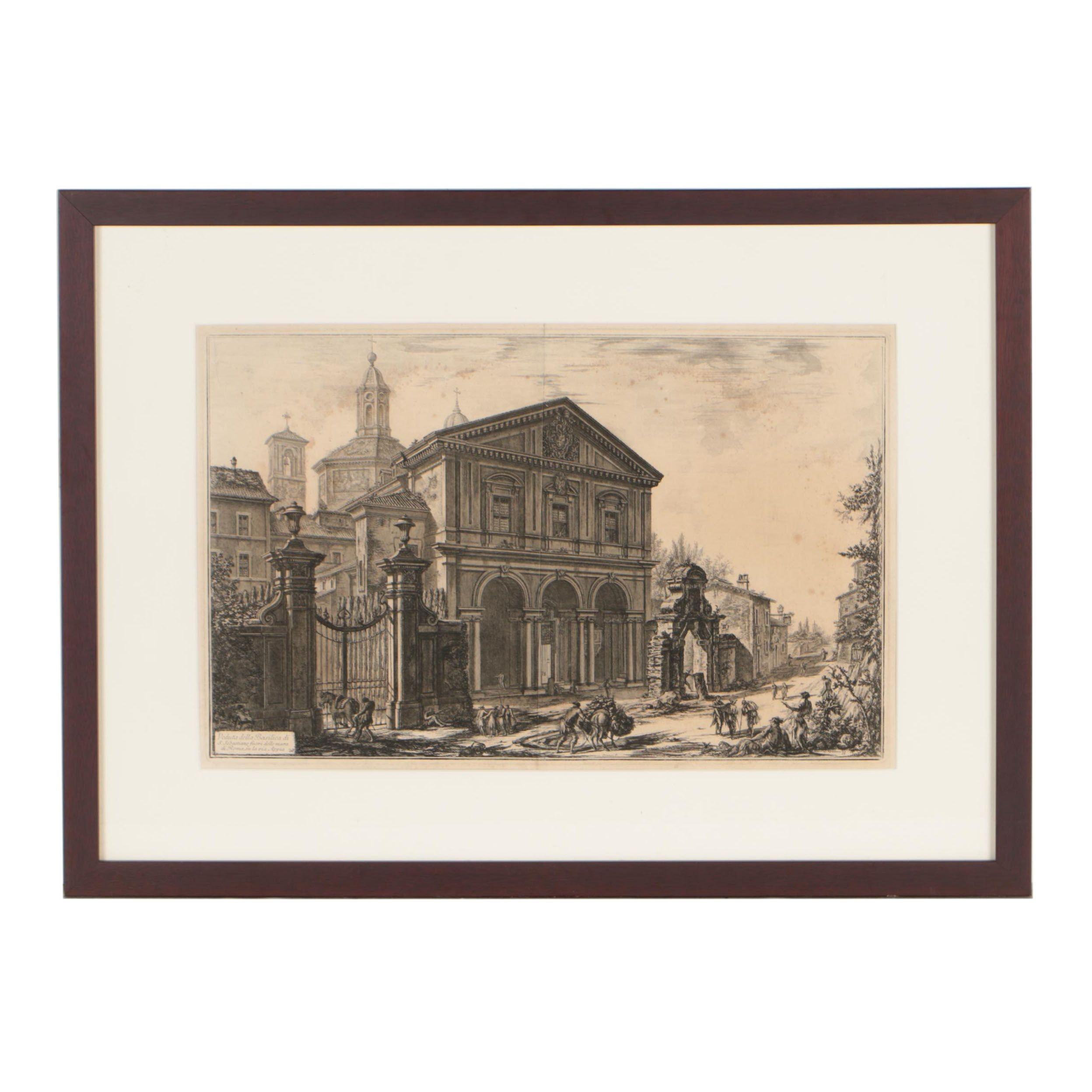 """Giovanni Battista Piranesi Etching """"Veduta della Basilica di S.Sebastiano"""""""