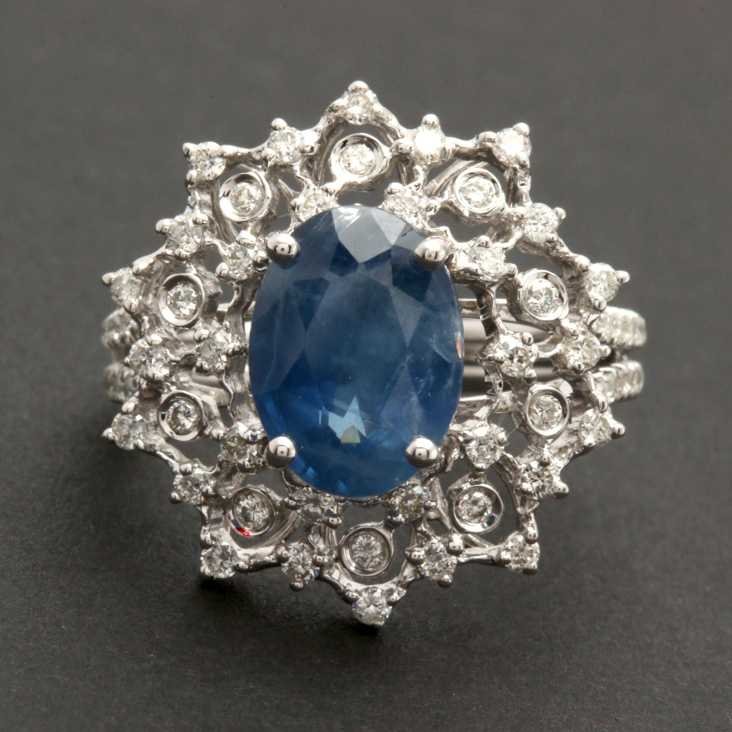 M. Christoff 18K White Gold 3.66 CT Unheated Blue Sapphire and Diamond Ring