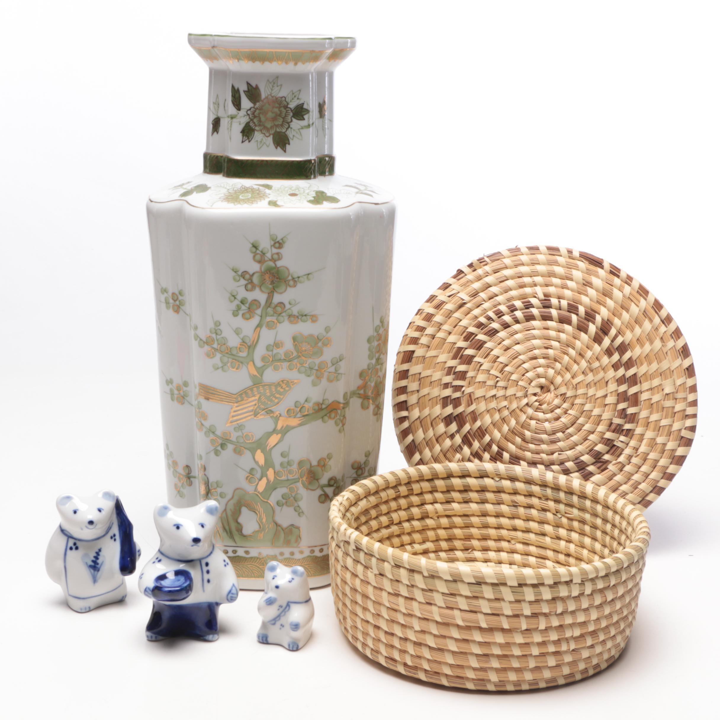 Andrea by Sadek Porcelain Vase, Handwoven Basket and Porcelain Bears, Circa 1970