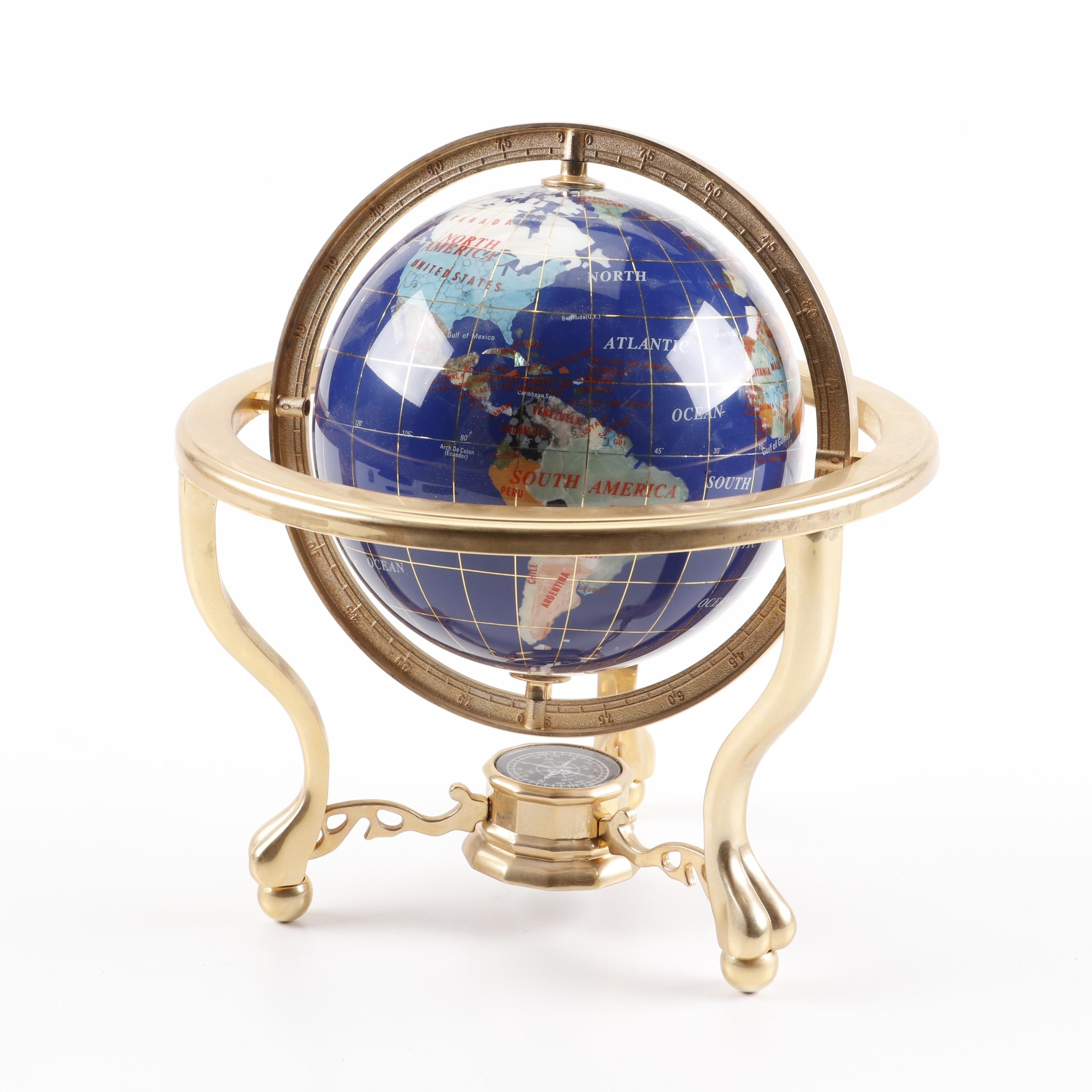Mixed Mineral and Stone Desk Globe in Brushed Metal Base with Compass